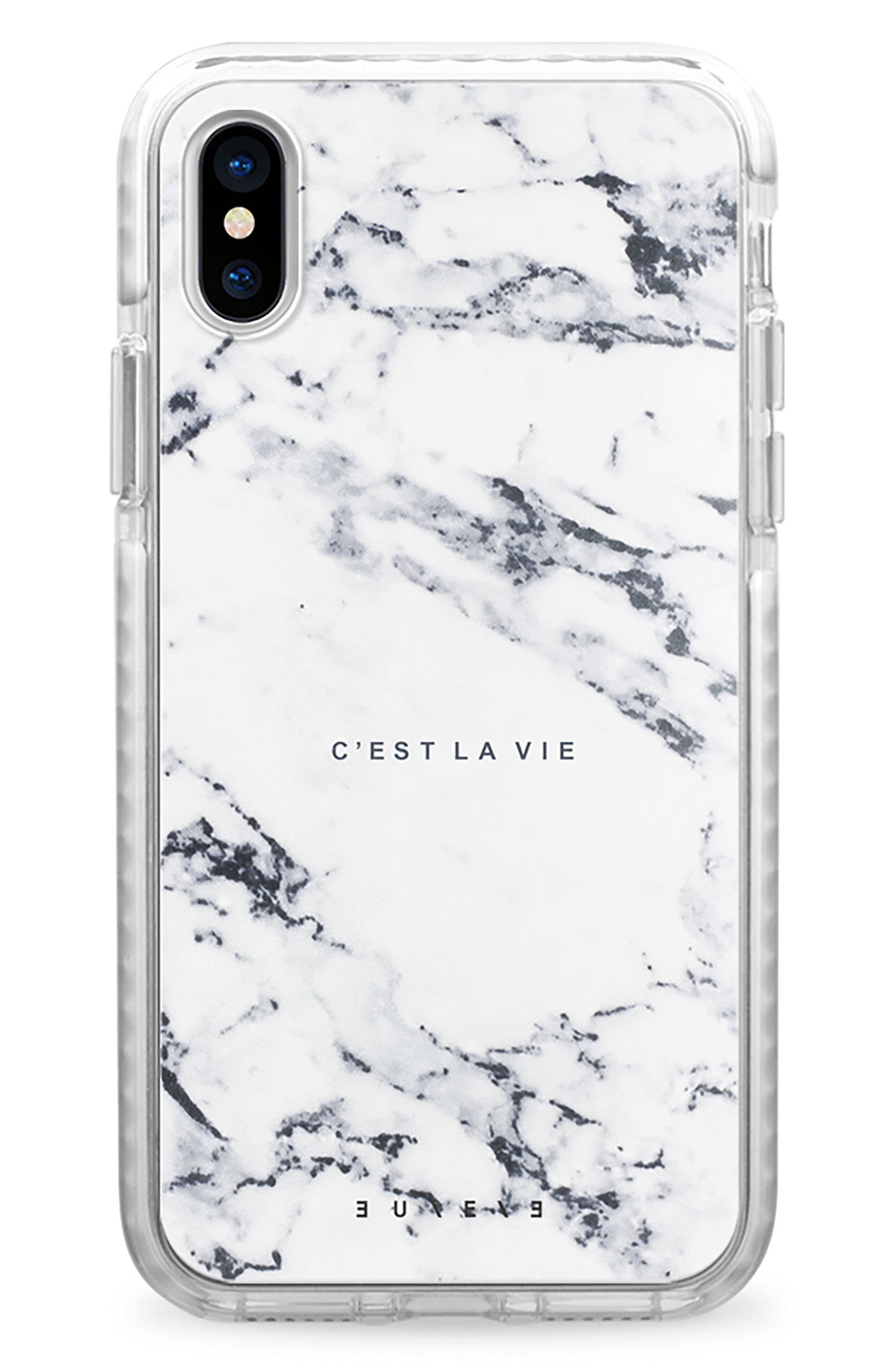 C'est la Vie Marble iPhone X Case,                         Main,                         color, White Marble