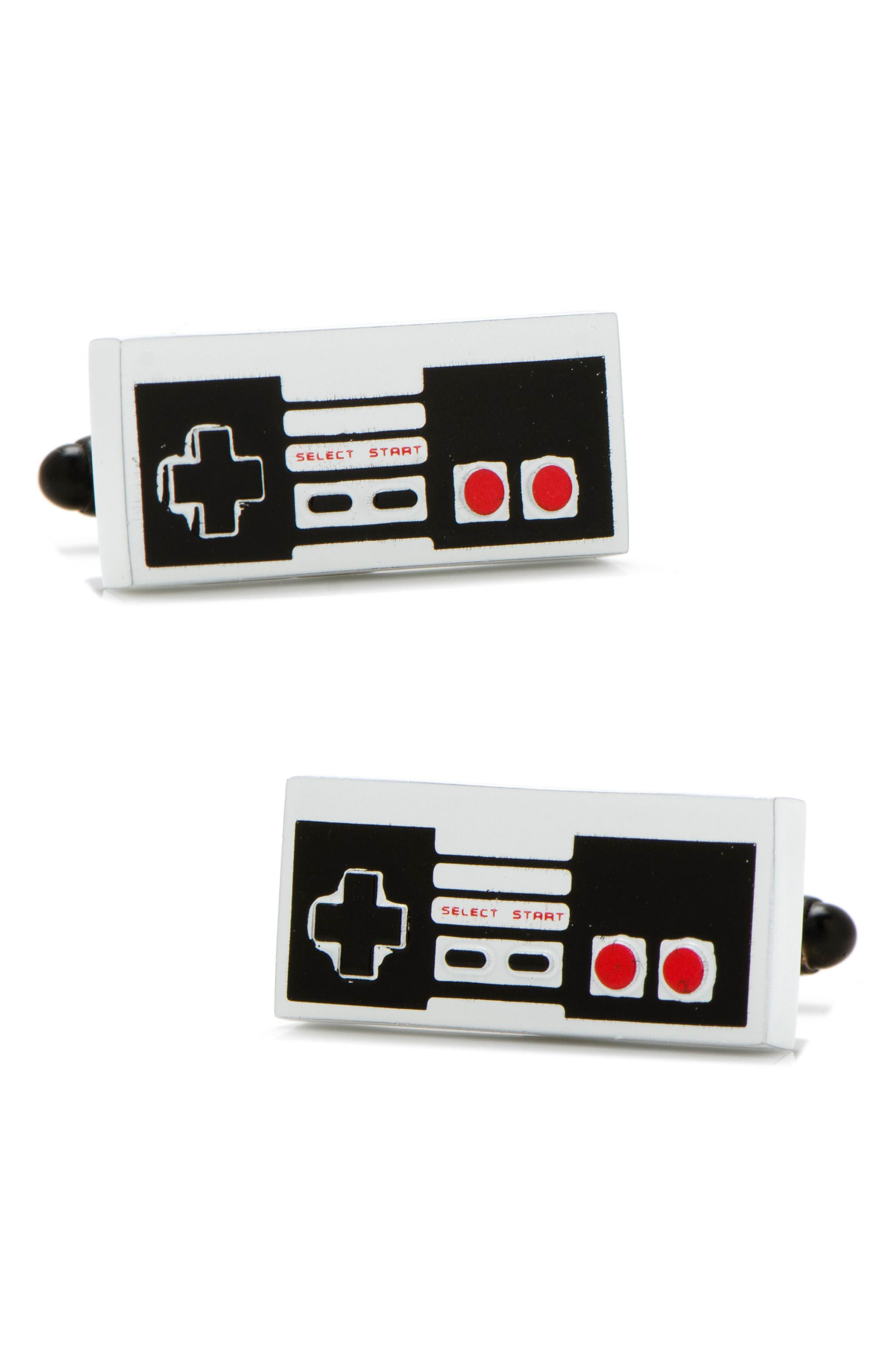 3D Vintage Game Cuff Links,                         Main,                         color, Grey/ Black