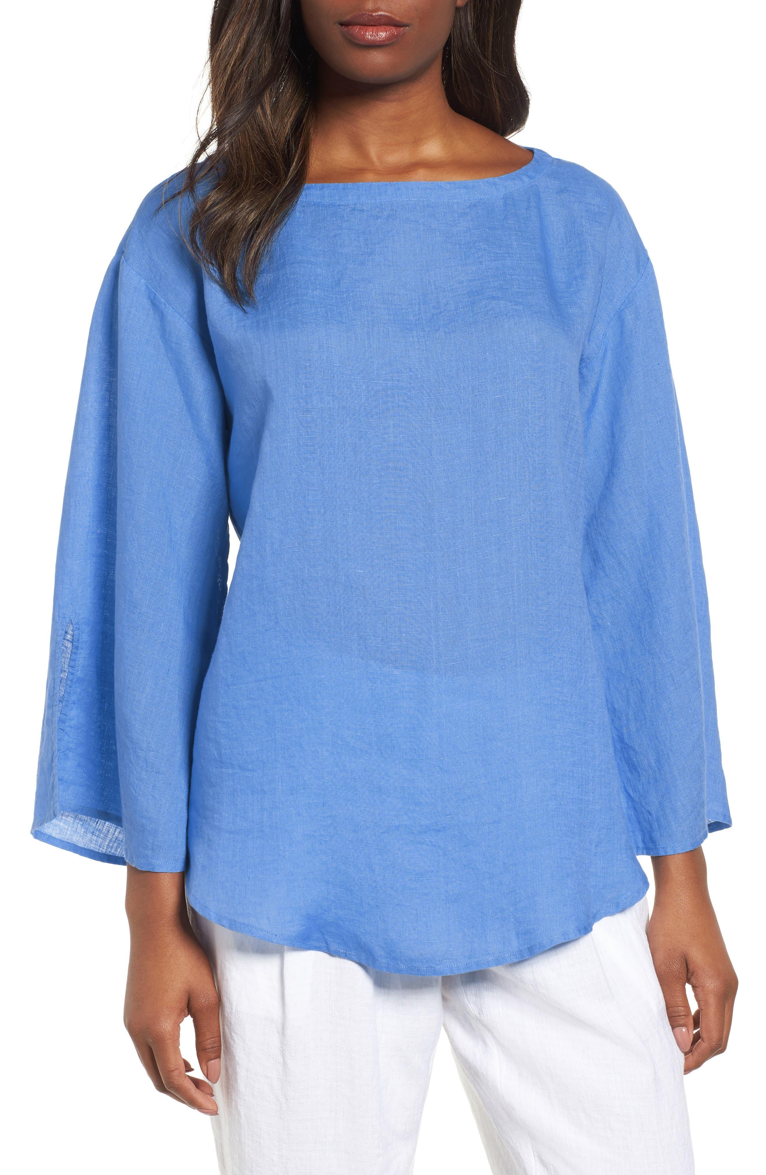 Woven Organic Linen Top,                         Main,                         color, Bluebell