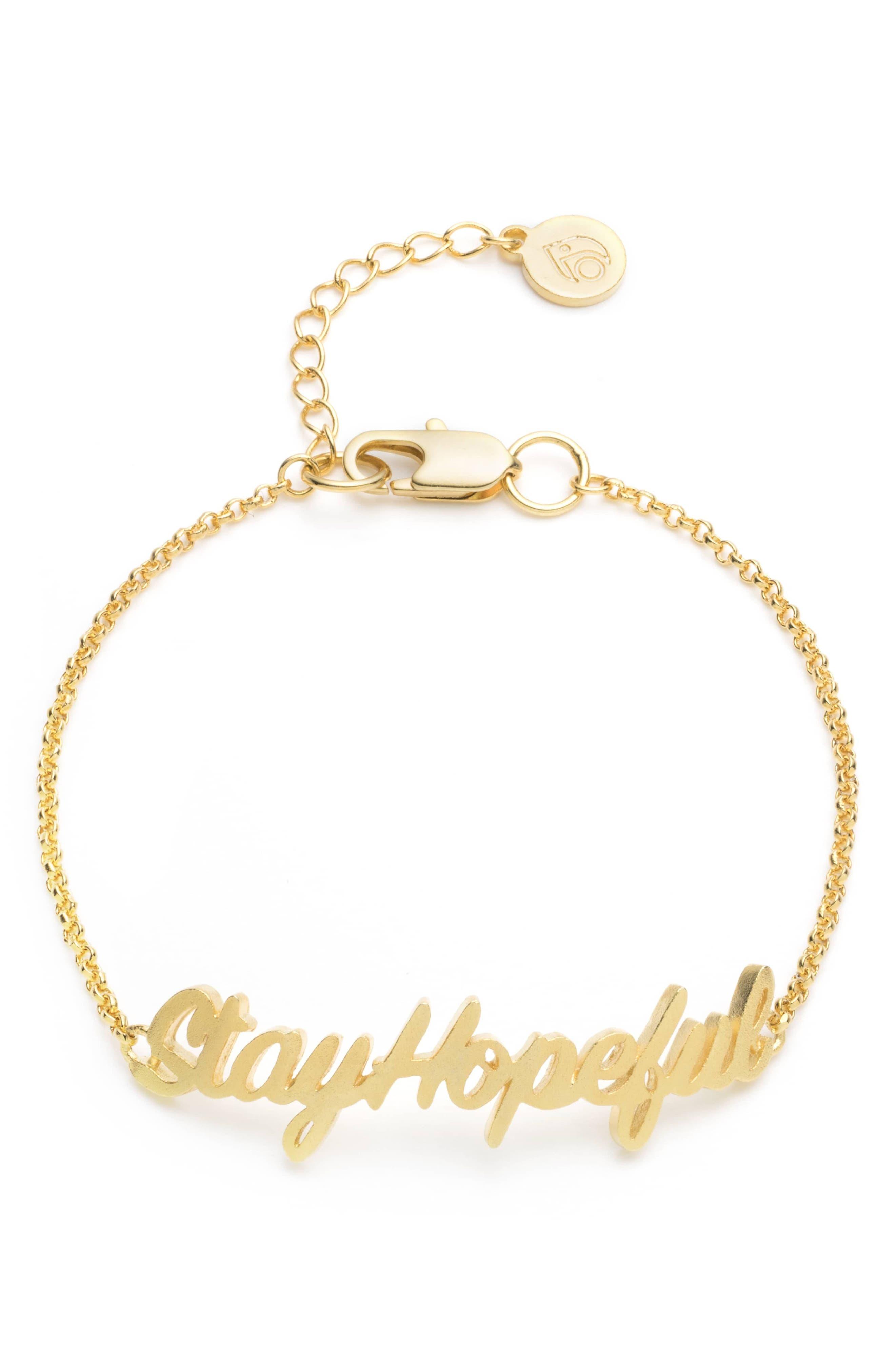Stay Hopeful Bracelet,                         Main,                         color, Gold