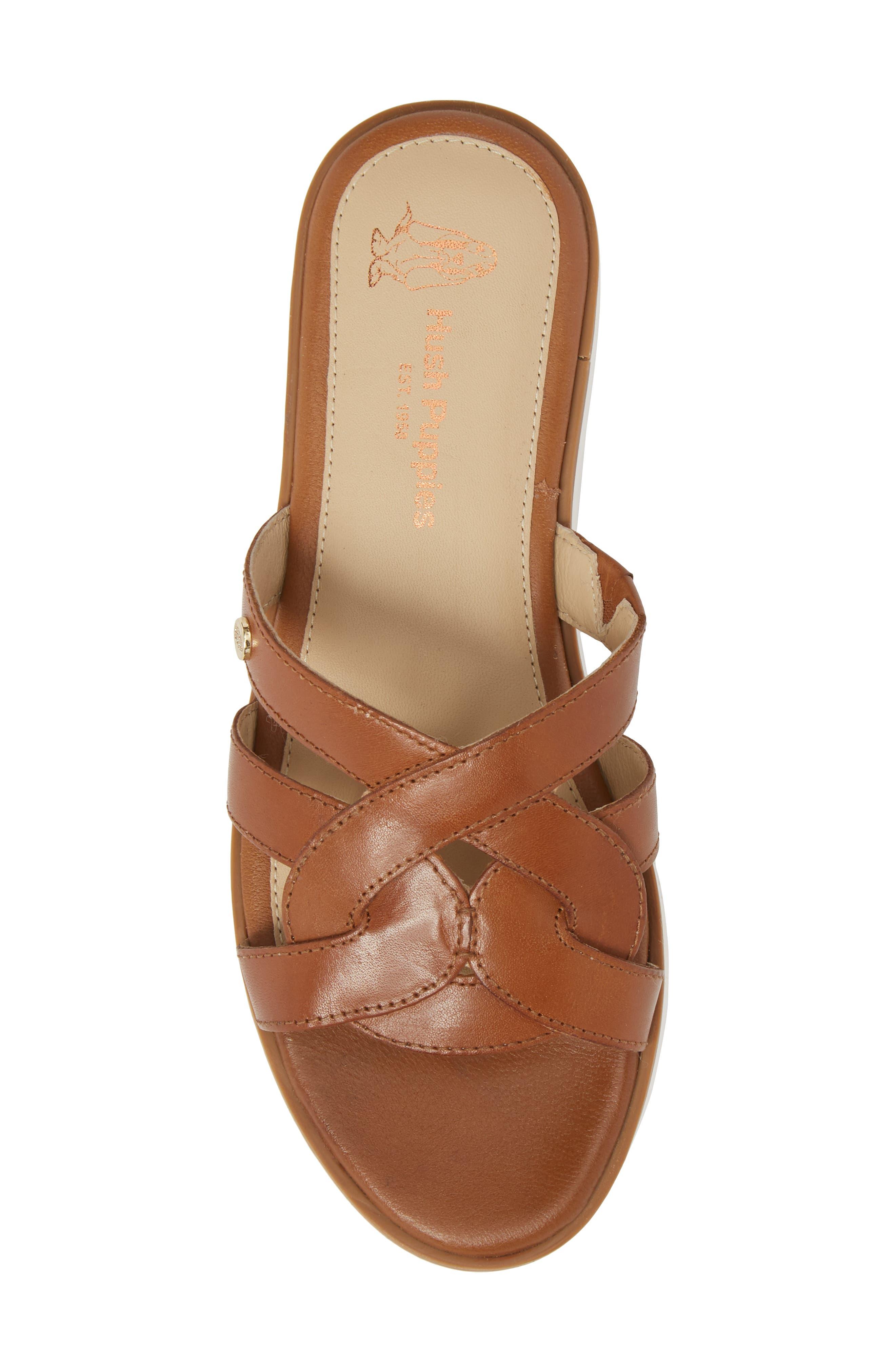 Braid Slide Sandal,                             Alternate thumbnail 5, color,                             Tan Leather
