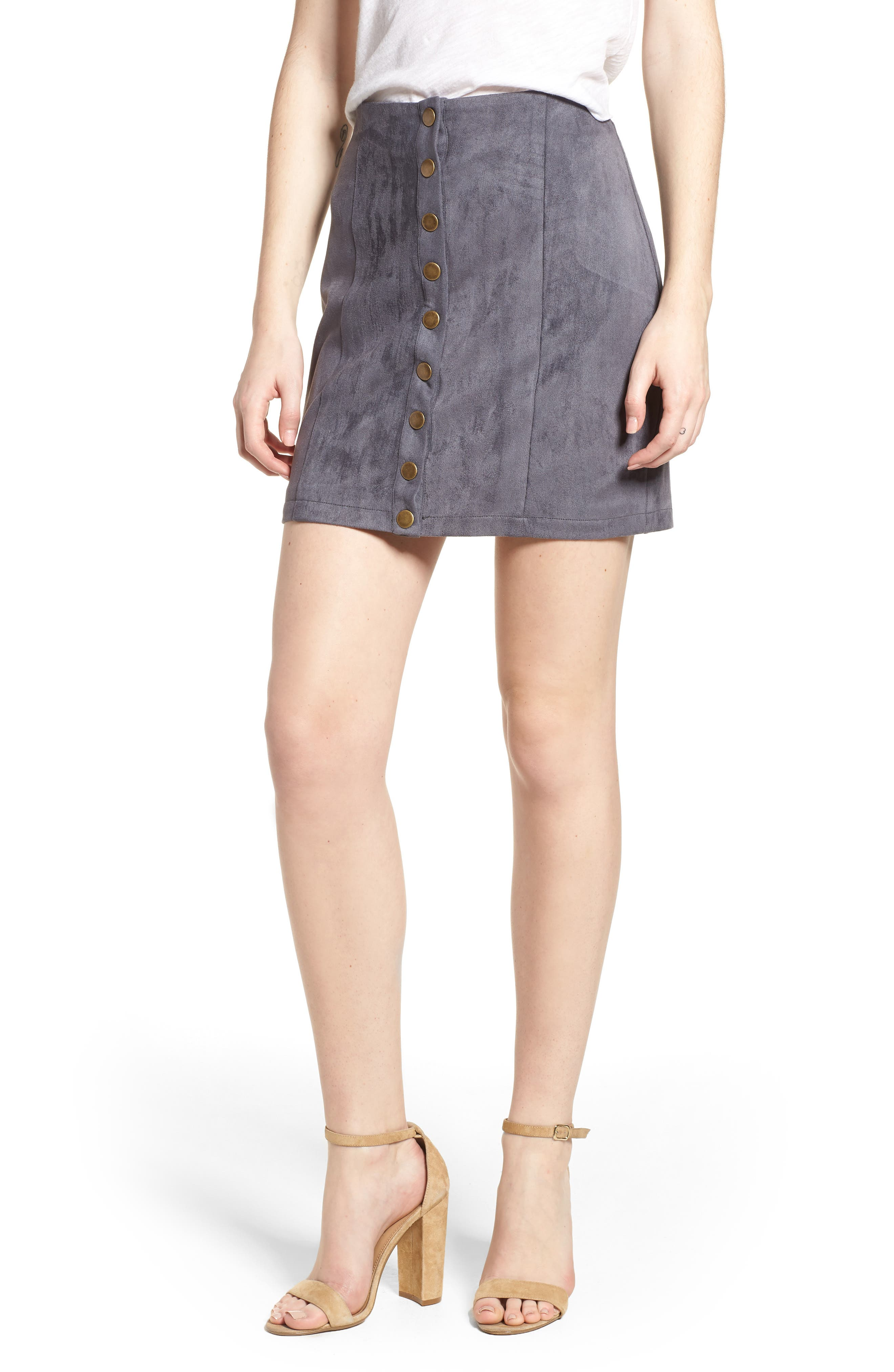 Bishop + Young Front Snap Faux Suede Miniskirt,                             Main thumbnail 1, color,                             Slate Blue