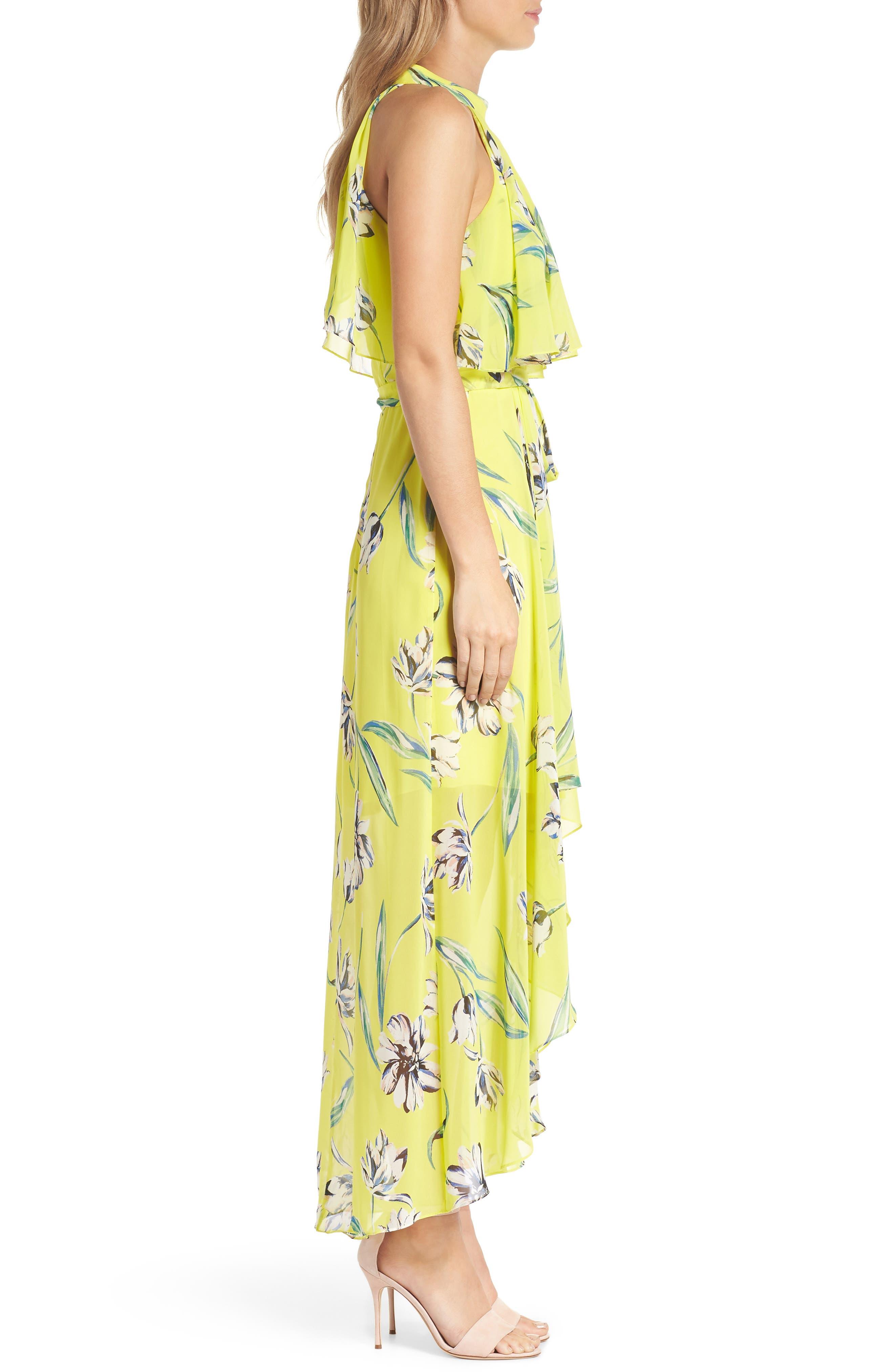 Halter Neck Chiffon Maxi Dress,                             Alternate thumbnail 3, color,                             Yellow