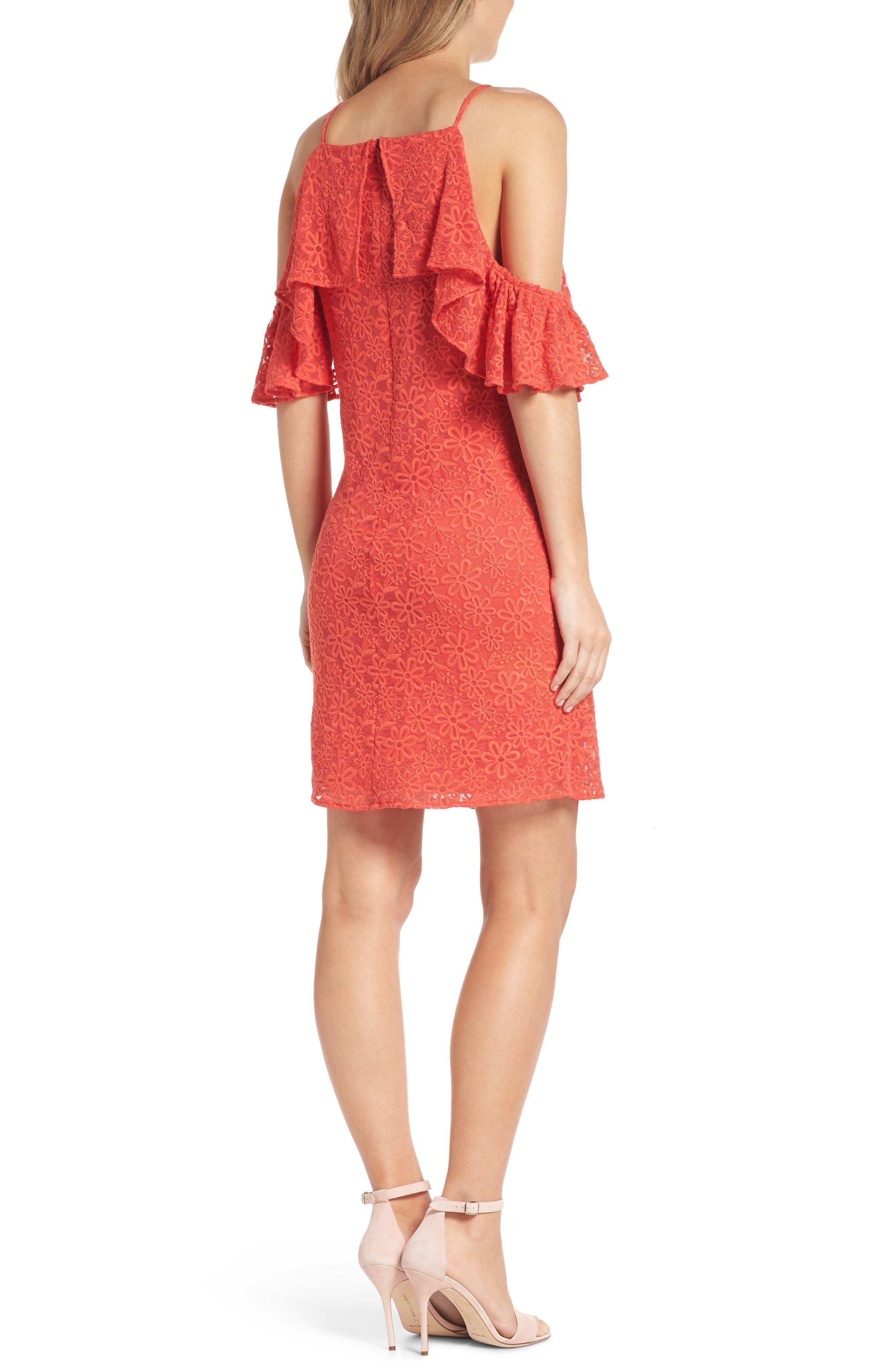 Roseville Cold Shoulder Embroidered Tulle Halter Dress,                             Alternate thumbnail 2, color,                             Lady Bug