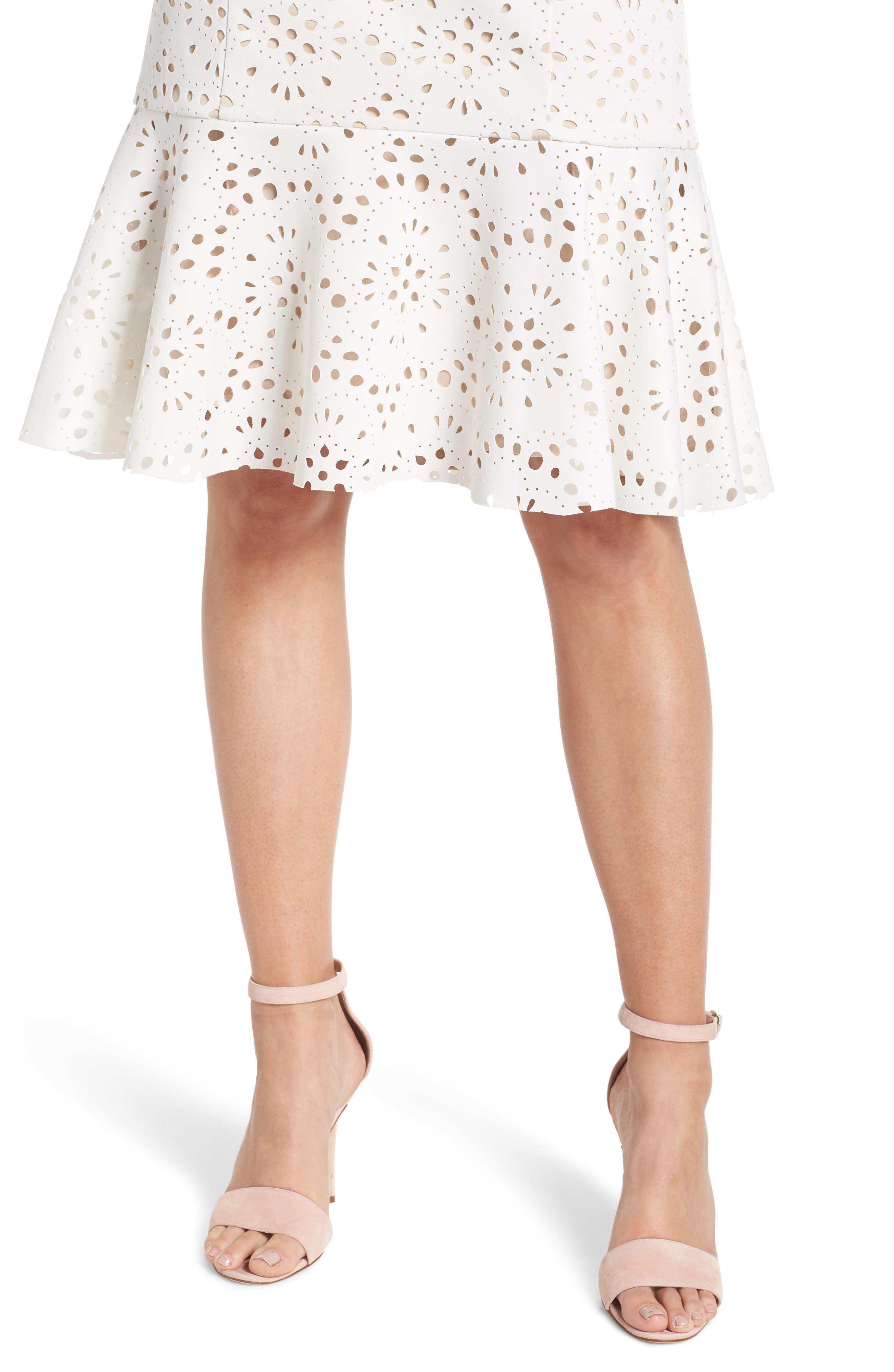 Flounce Laser Cut Scuba Dress,                             Alternate thumbnail 4, color,                             White