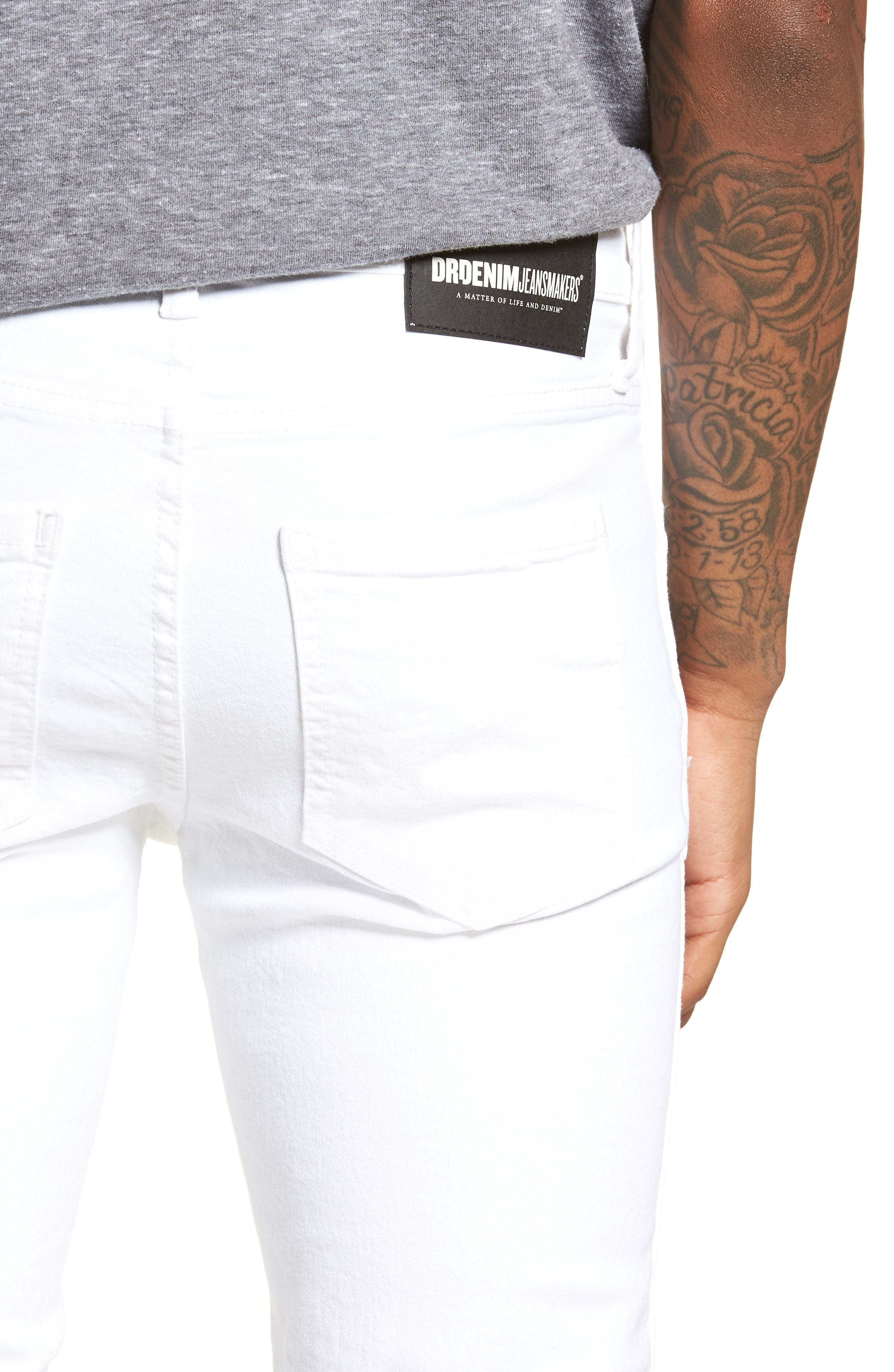 Snap Skinny Fit Jeans,                             Alternate thumbnail 4, color,                             White Ripped