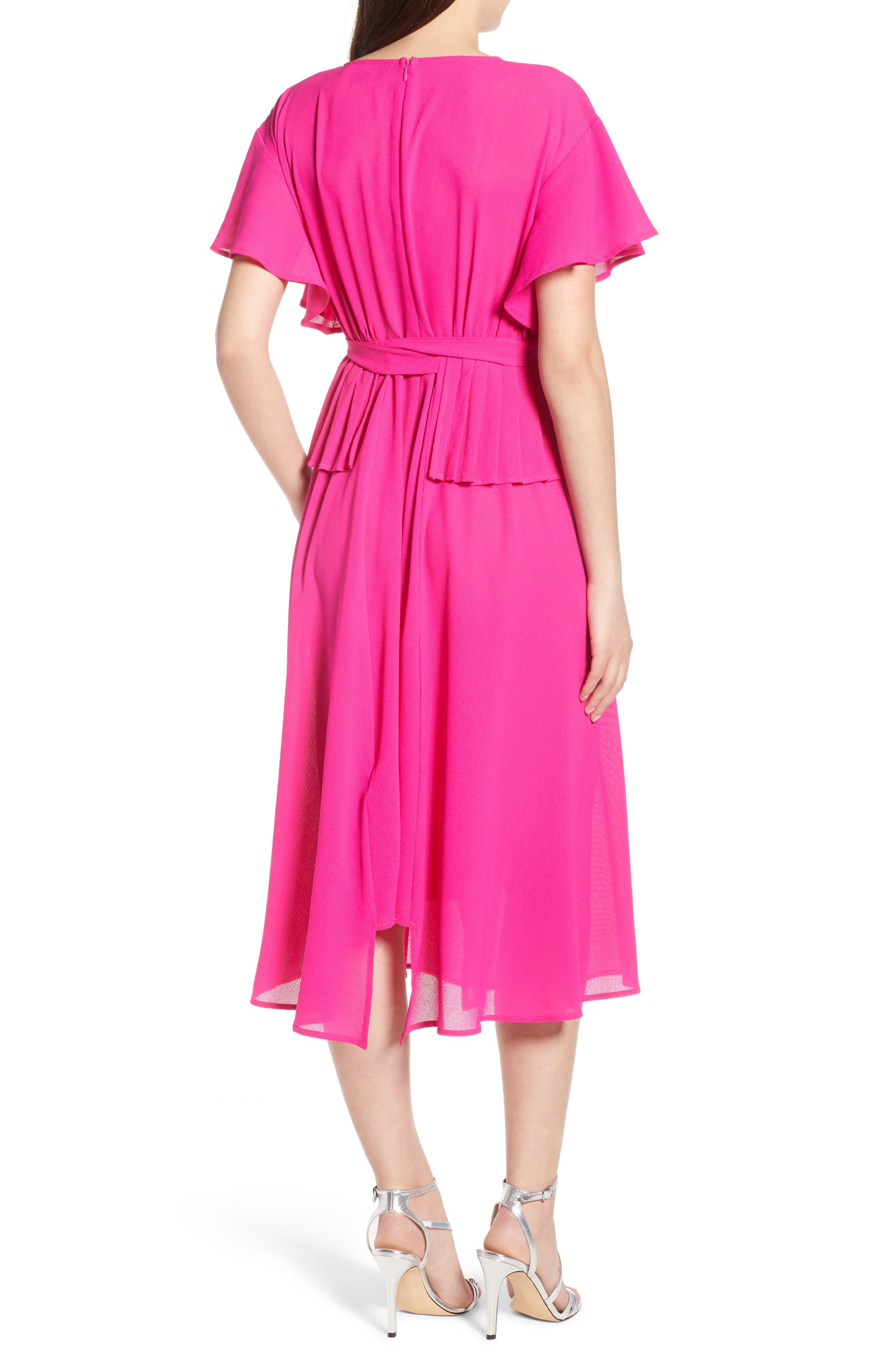 Chiffon Midi Dress,                             Alternate thumbnail 3, color,                             Fuchsia