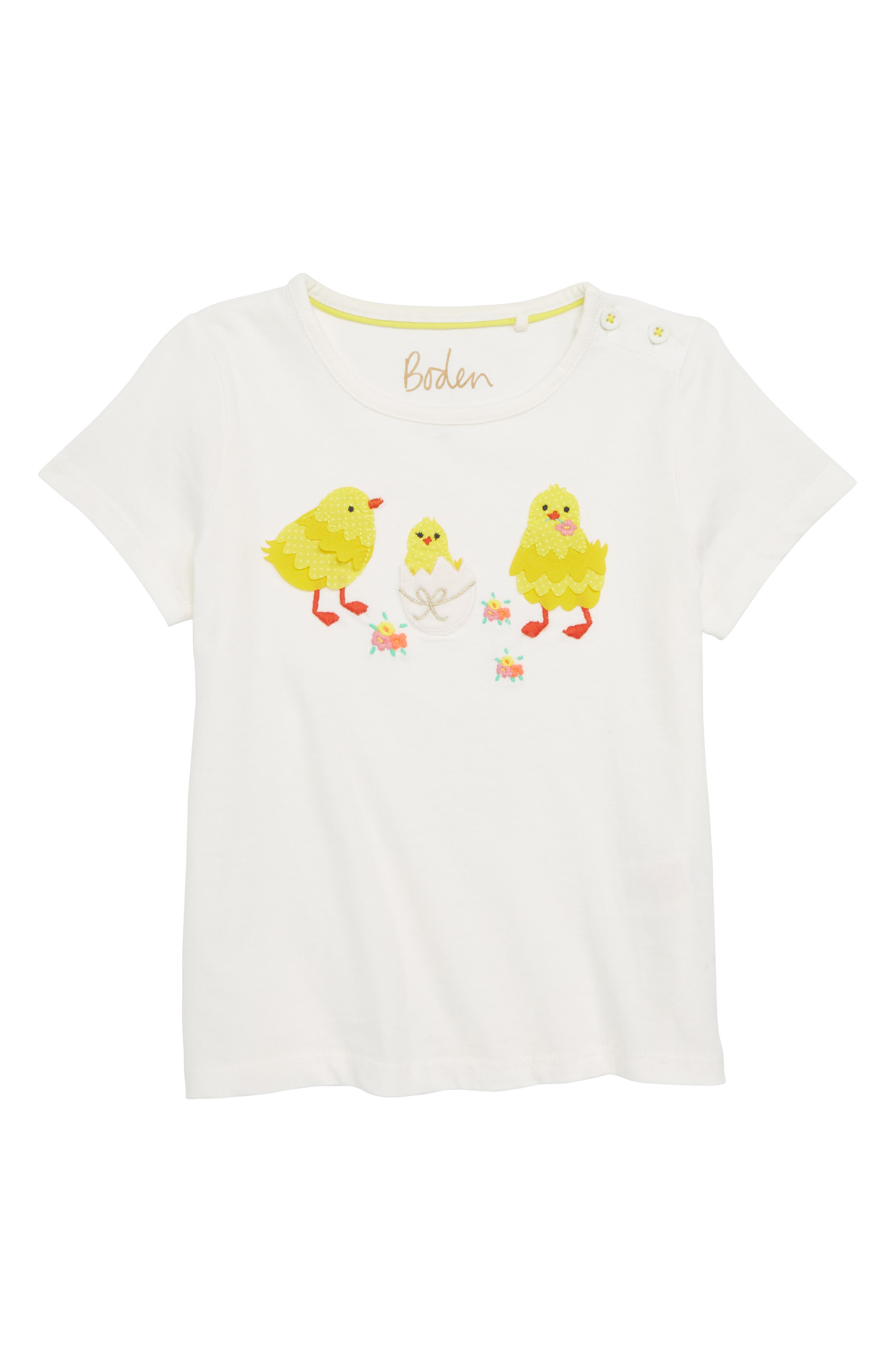 Special Easter Appliqué Tee,                         Main,                         color, Ivory Bird Ivo