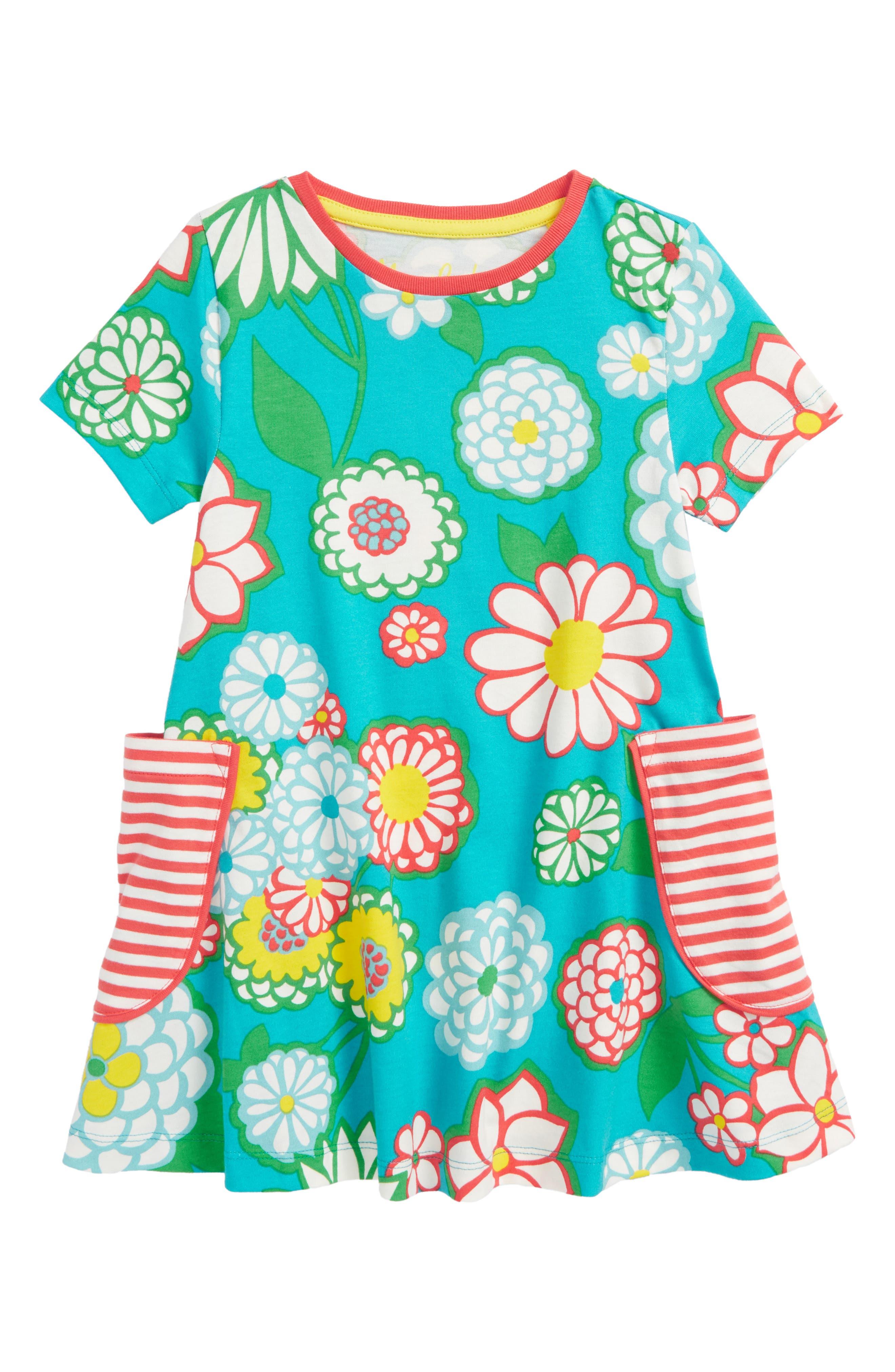 Colorful Print Tunic,                         Main,                         color, Ultramarine Green Daisy Grn