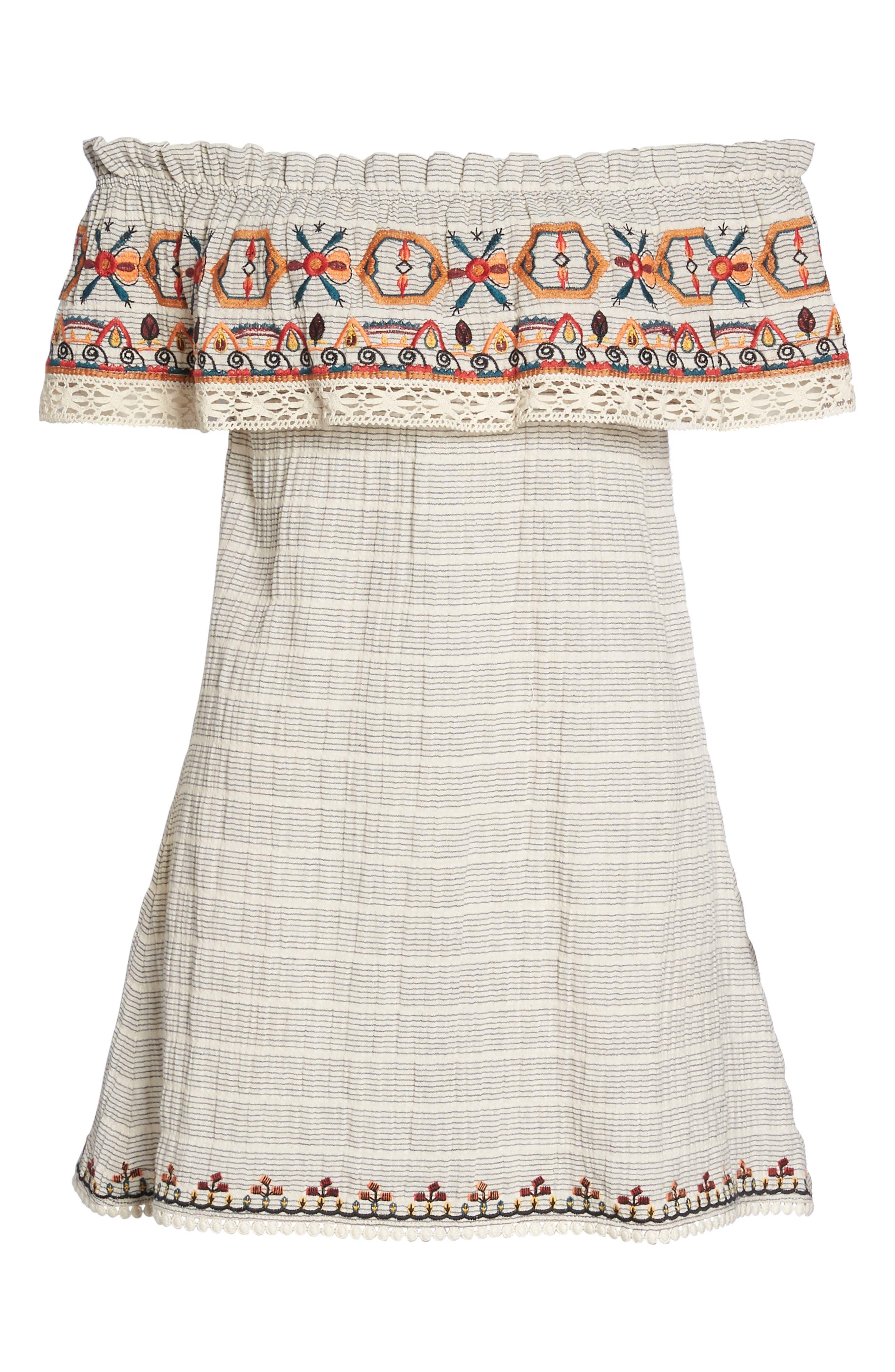 Embroidered Off the Shoulder Dress,                             Alternate thumbnail 7, color,                             Ivory