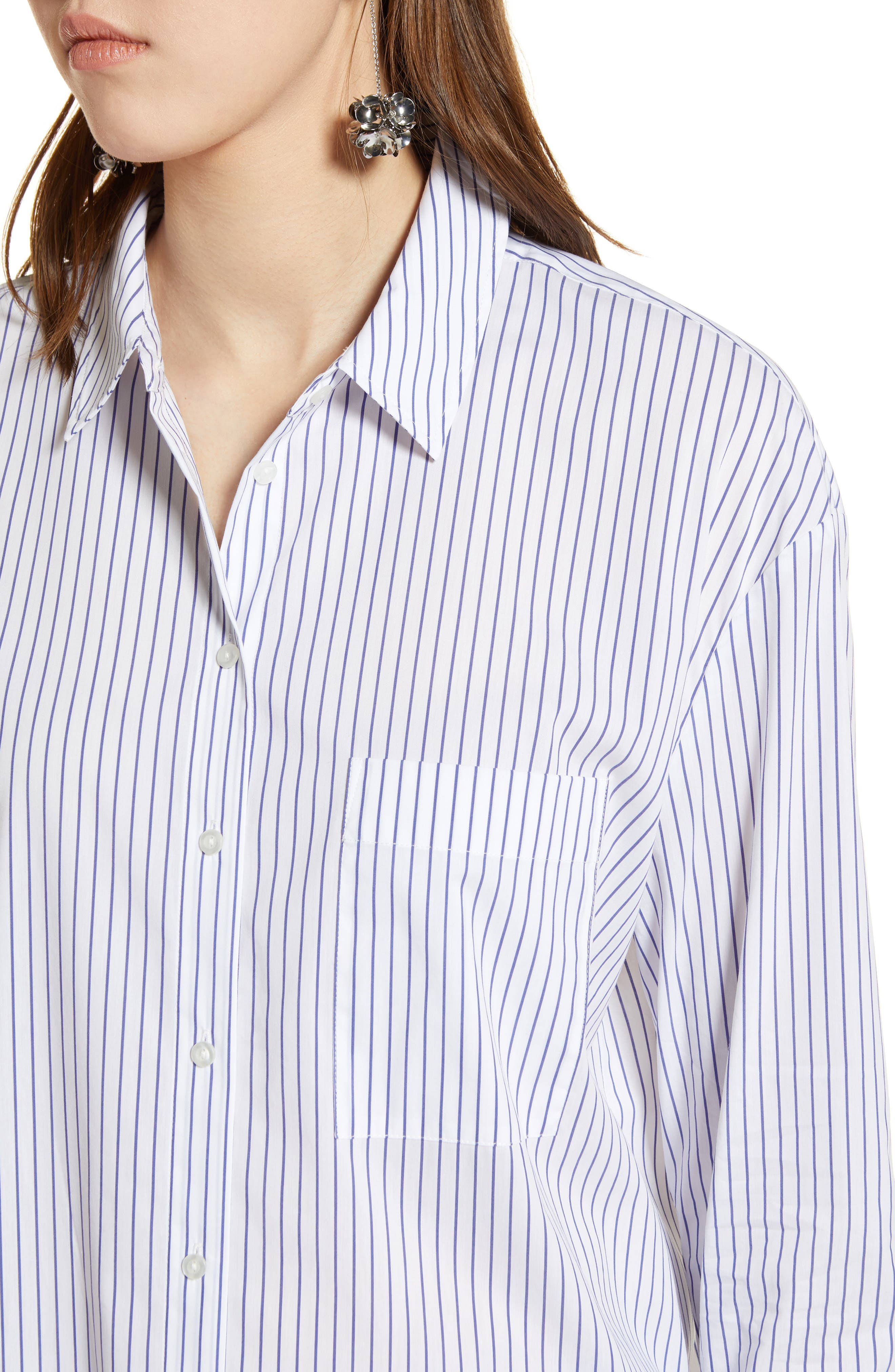 Alternate Image 4  - Halogen® Tie Front Poplin Shirt (Regular & Petite)