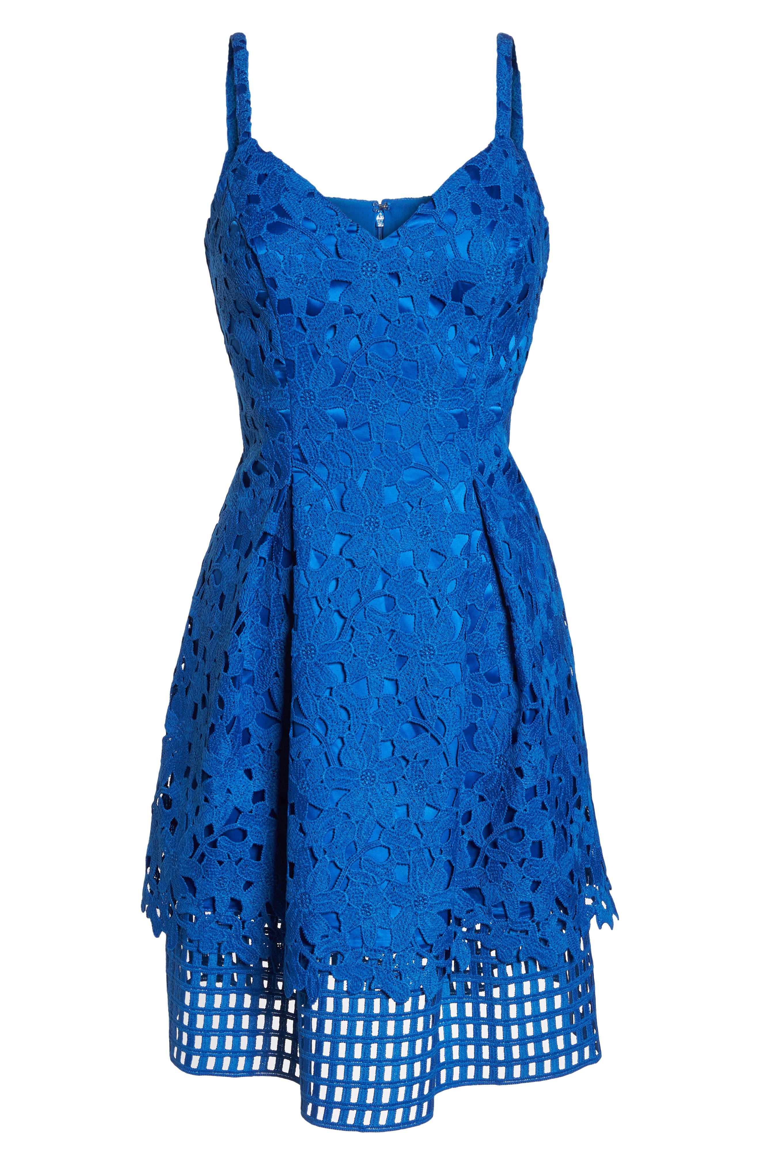 Lace Fit & Flare Dress,                             Alternate thumbnail 7, color,                             Cobalt
