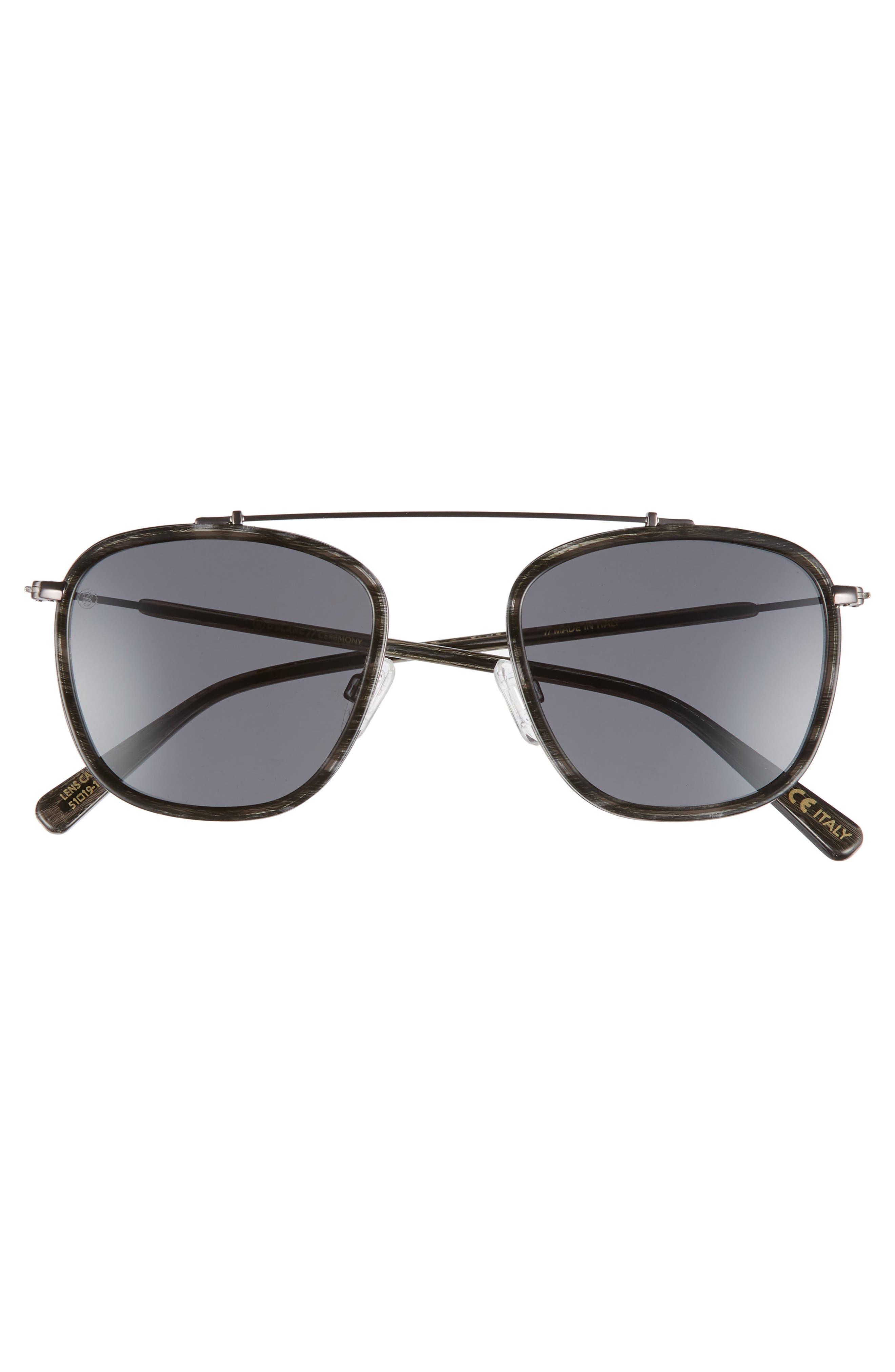 D'BLANC Ceremony 51mm Square Sunglasses,                             Alternate thumbnail 3, color,                             Charcoal Etch/ Grey