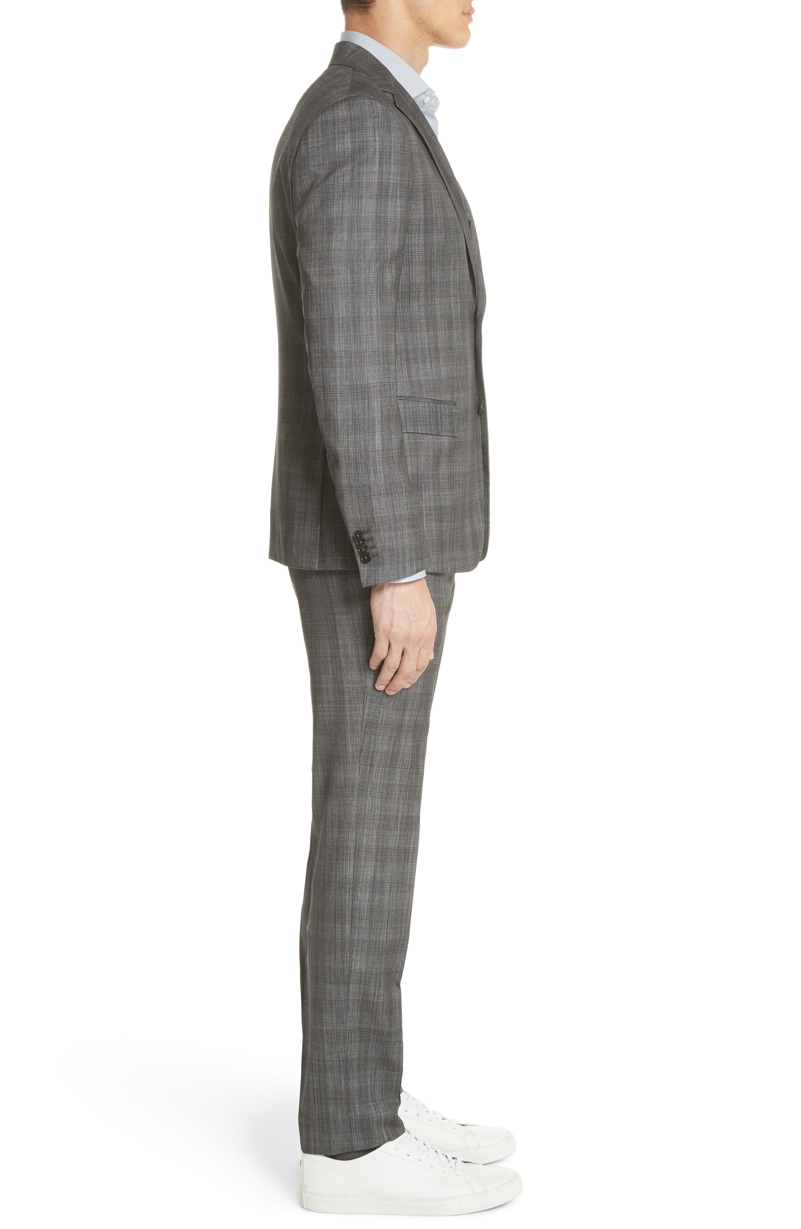 Classic Fit Plaid Wool & Silk Suit,                             Alternate thumbnail 3, color,                             Dark Grey Check