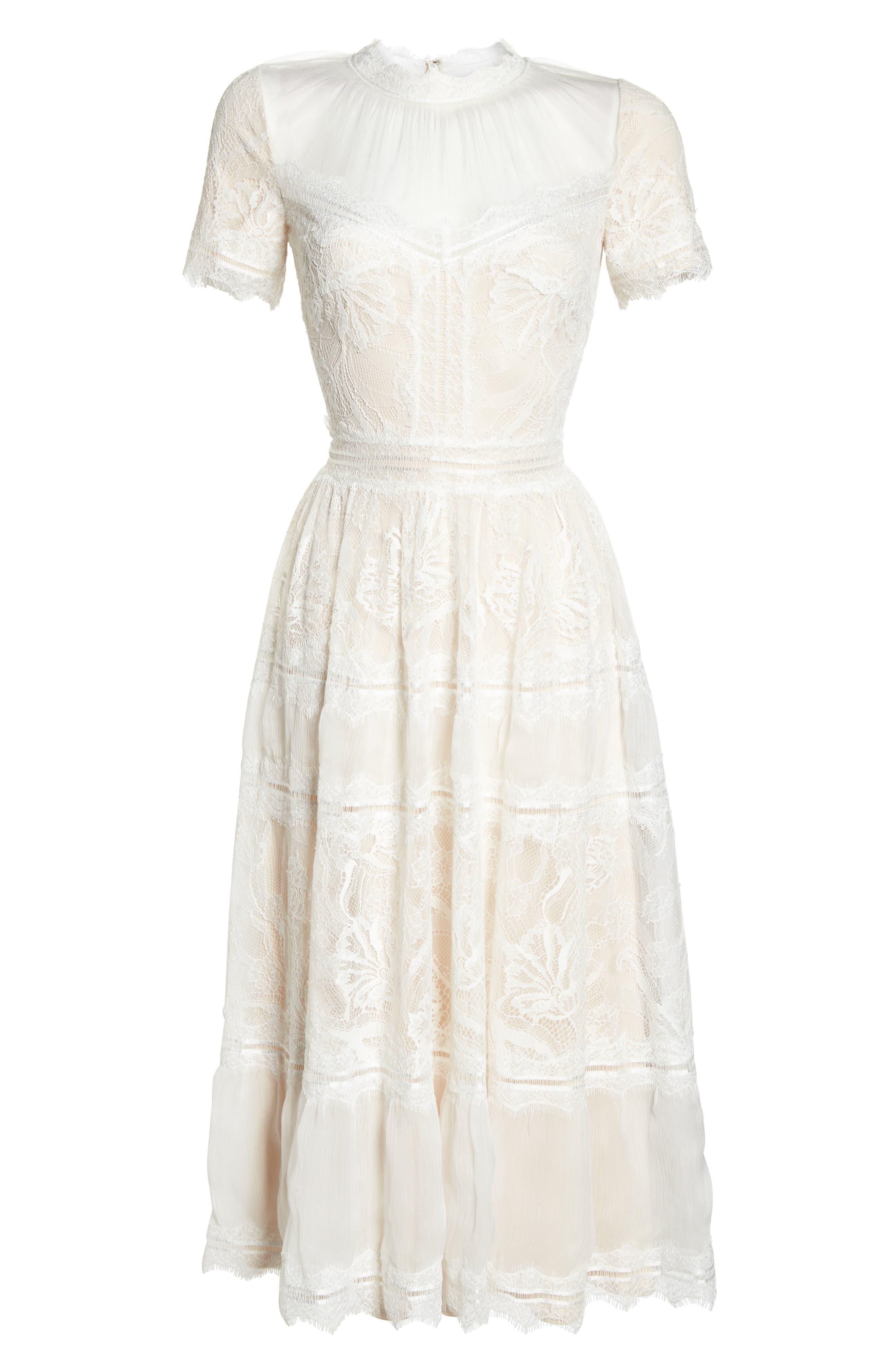 Lace Tea-Length Dress,                             Alternate thumbnail 6, color,                             Ivory/ Petal