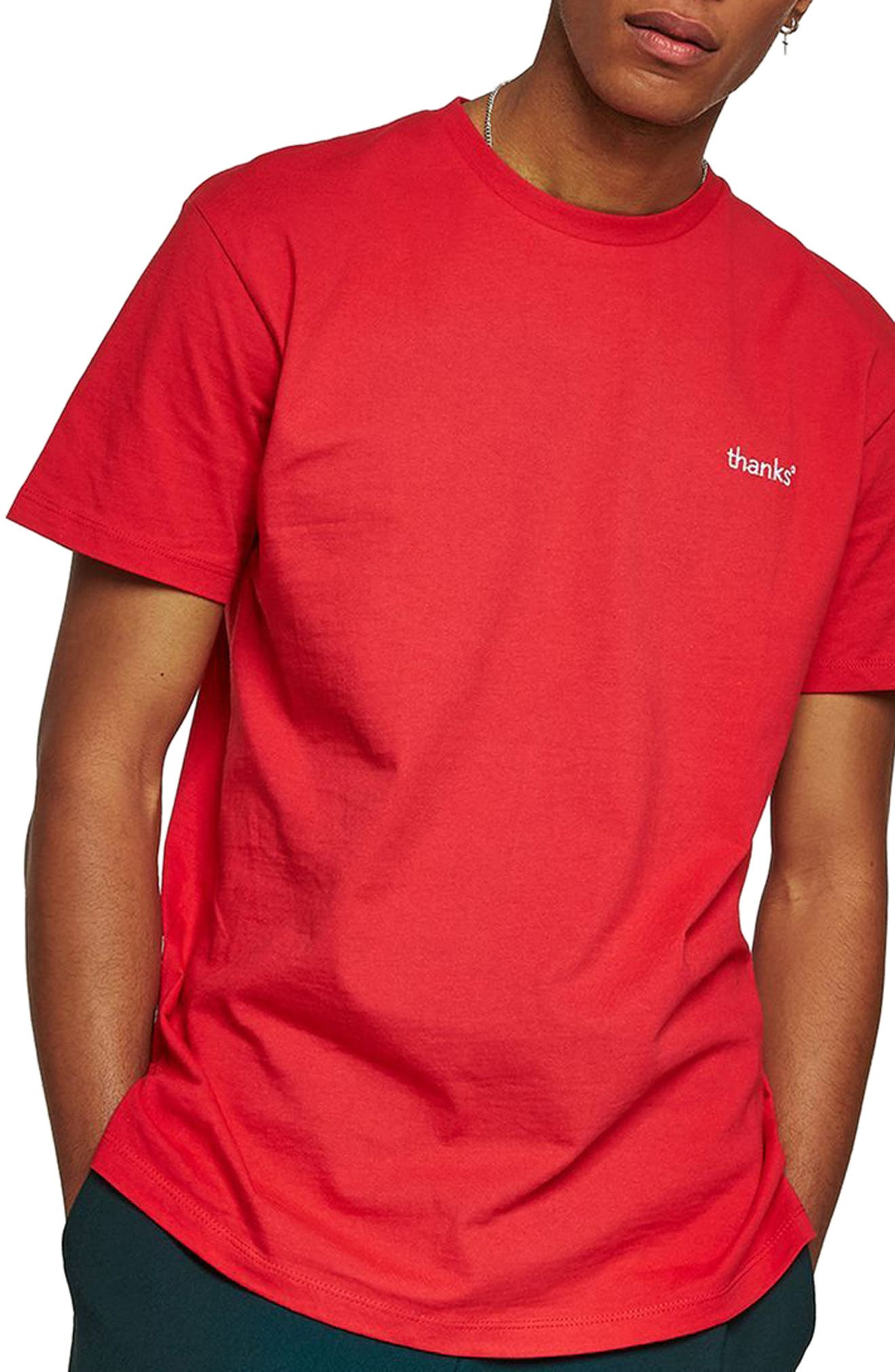Oversize Embroidered Thanks T-Shirt,                         Main,                         color, Red