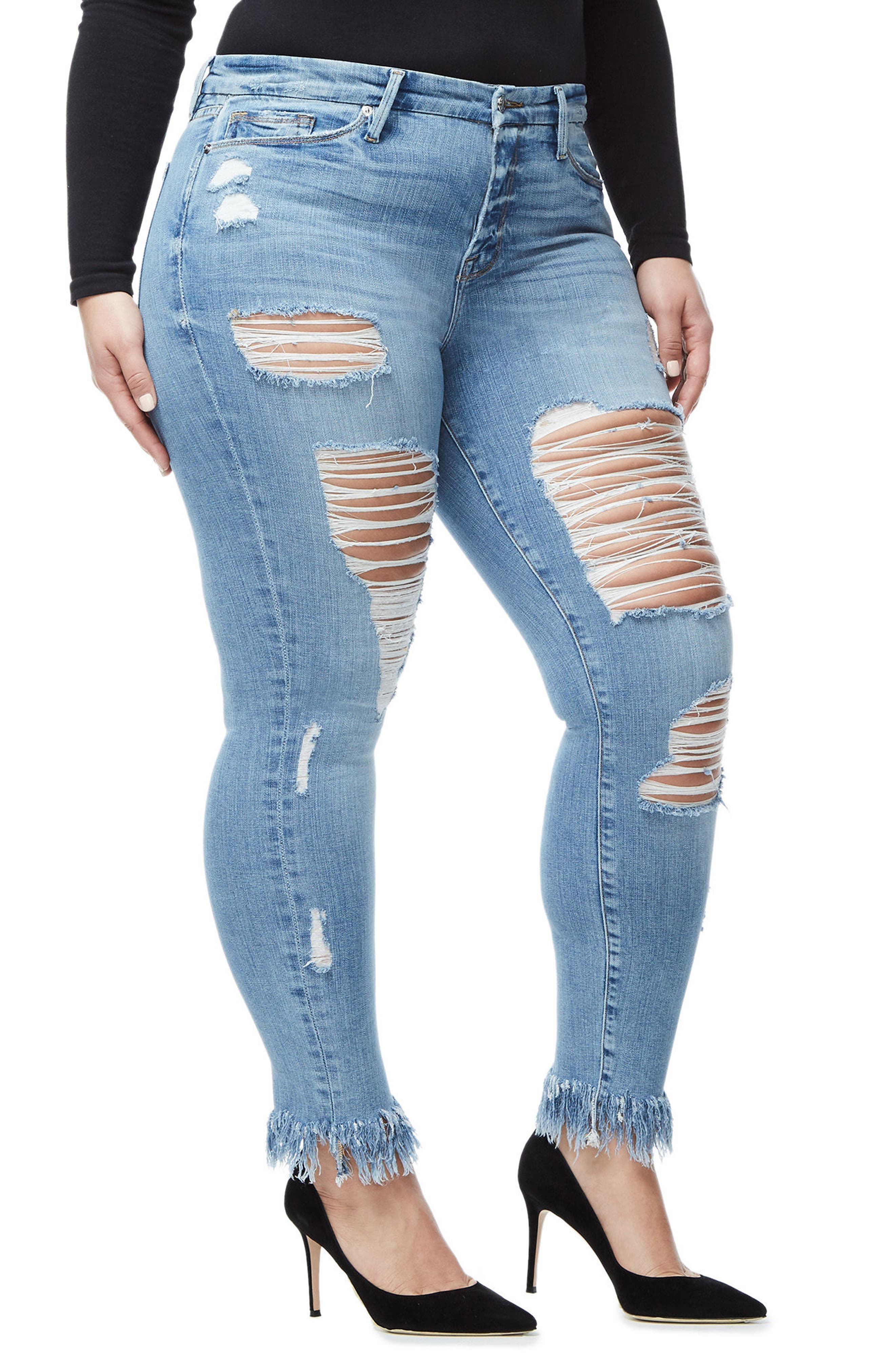 Good Legs Fray Ankle Skinny Jeans,                             Alternate thumbnail 6, color,                             Blue018