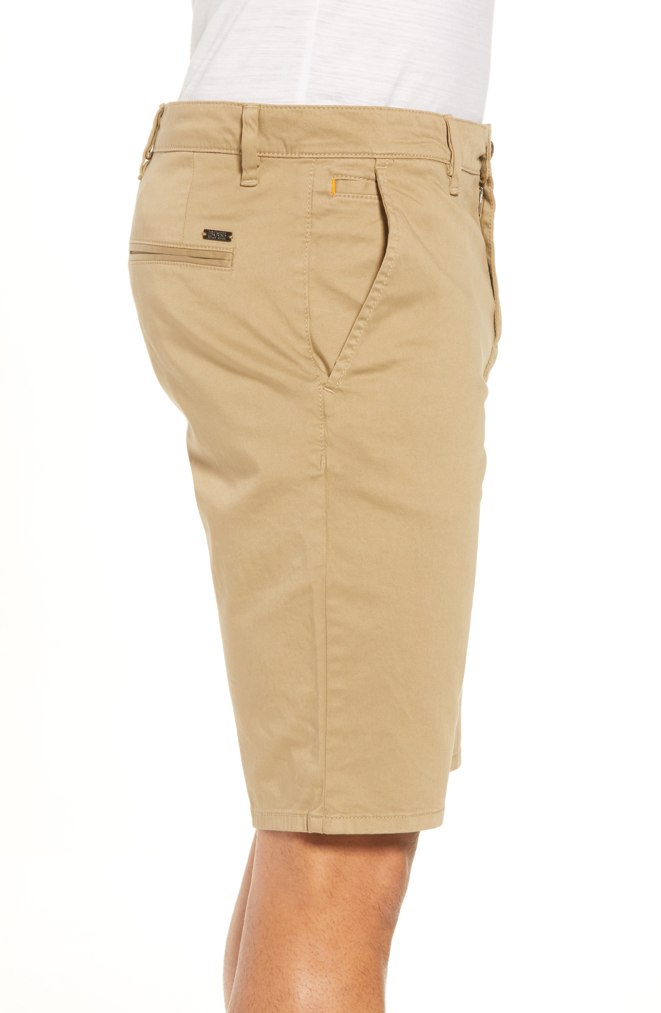 Slim Fit Shorts,                             Alternate thumbnail 3, color,                             Brown