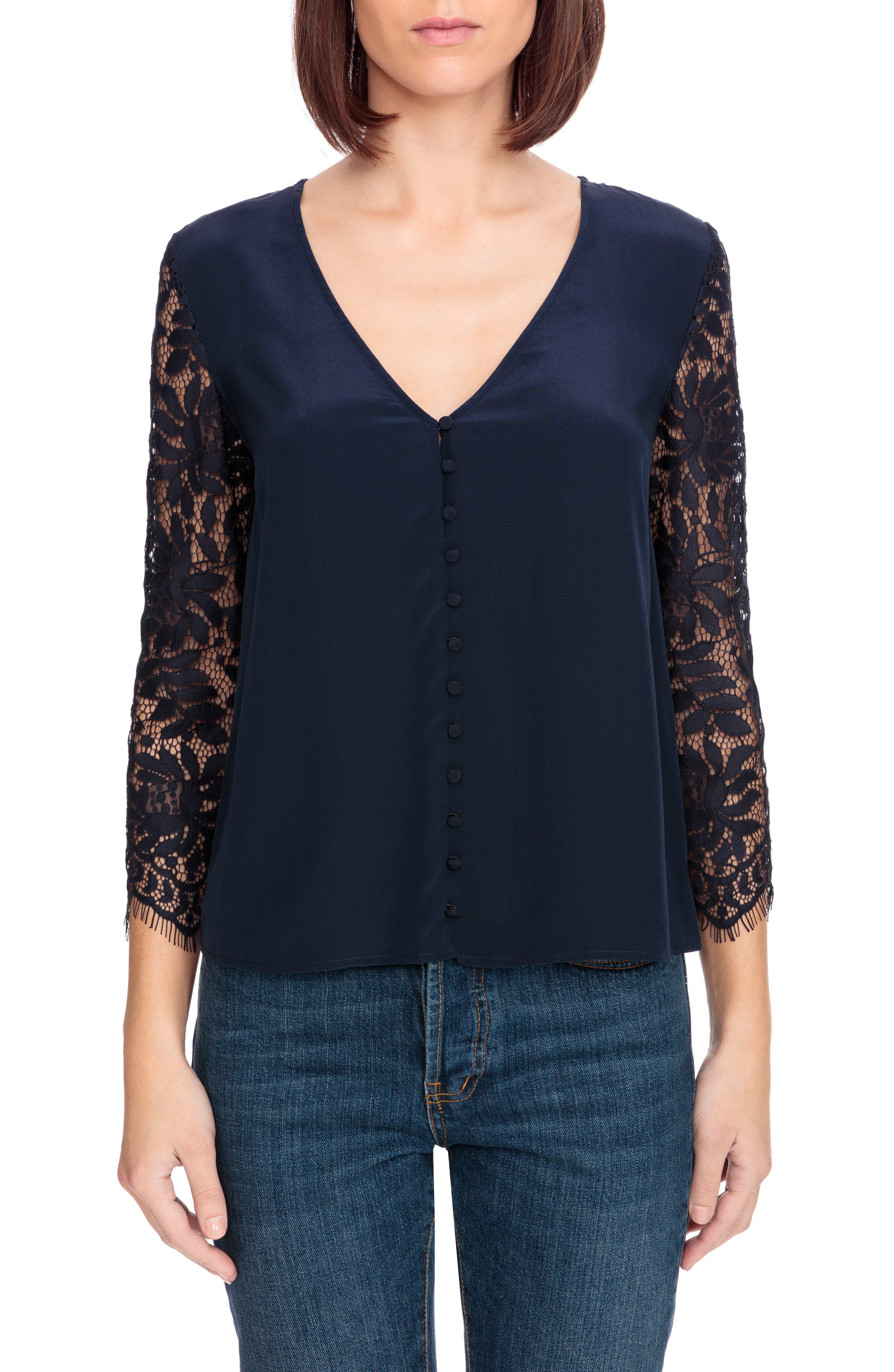 April Lace Sleeve Silk Blouse,                             Main thumbnail 1, color,                             Navy