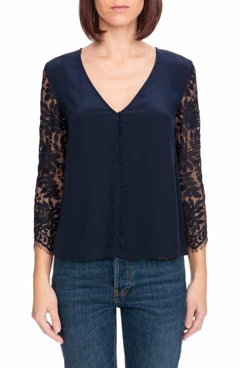 S?zane April Lace Sleeve Silk Blouse