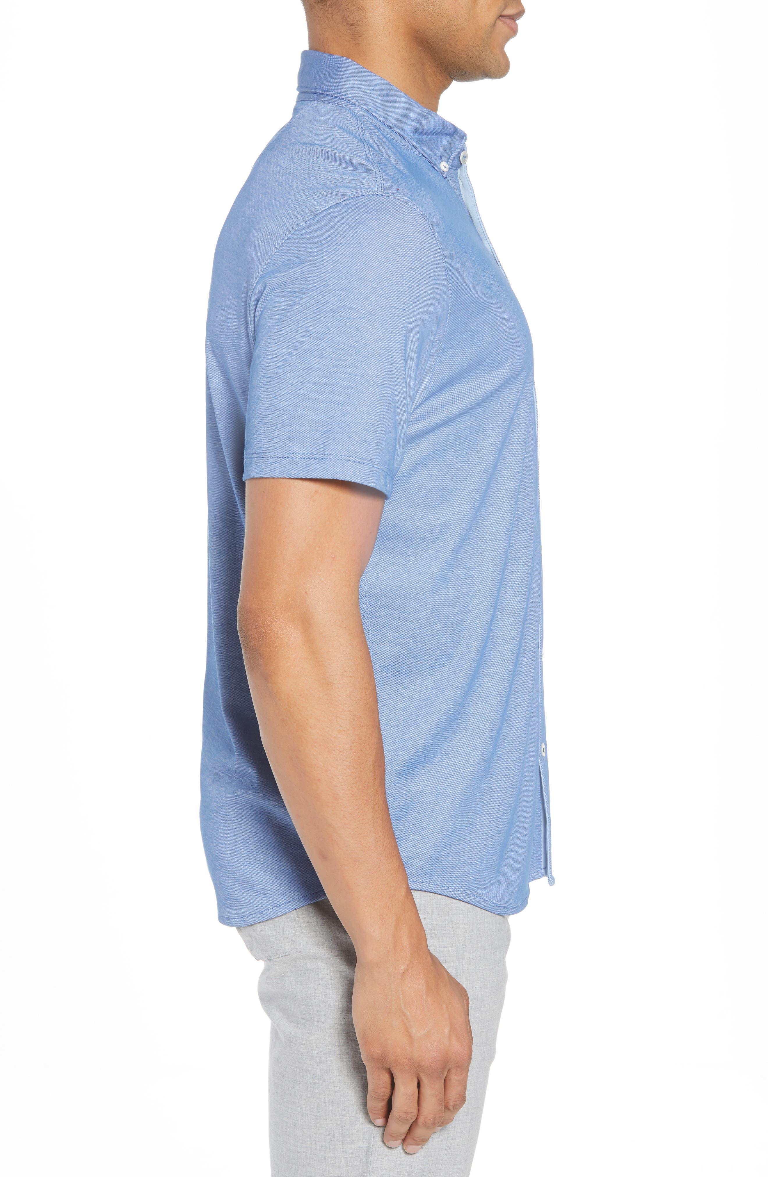 Caruth Piqué Sport Shirt,                             Alternate thumbnail 3, color,                             Azure