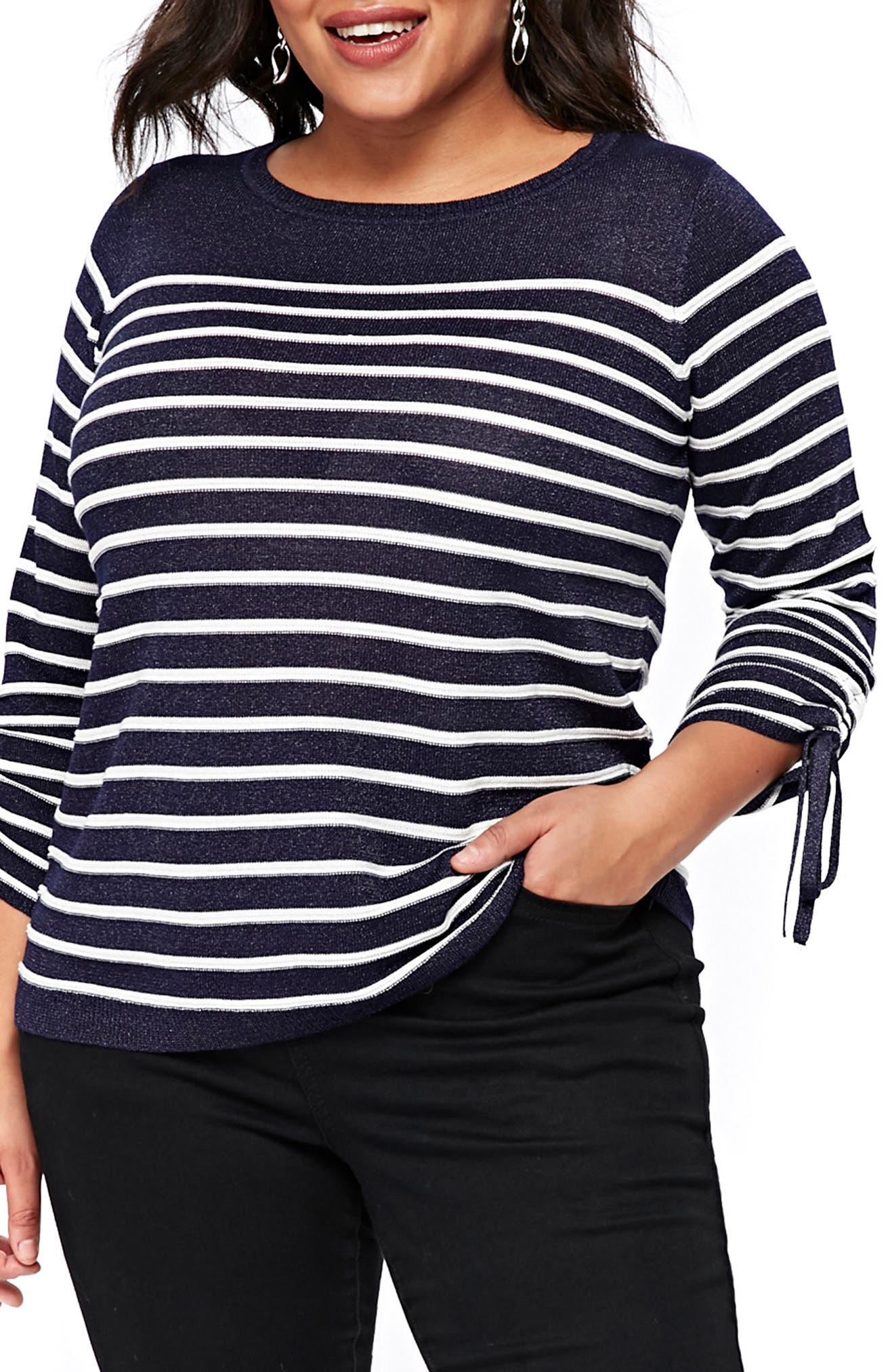 Evans Stripe Tie Sleeve Sweater (Plus Size)