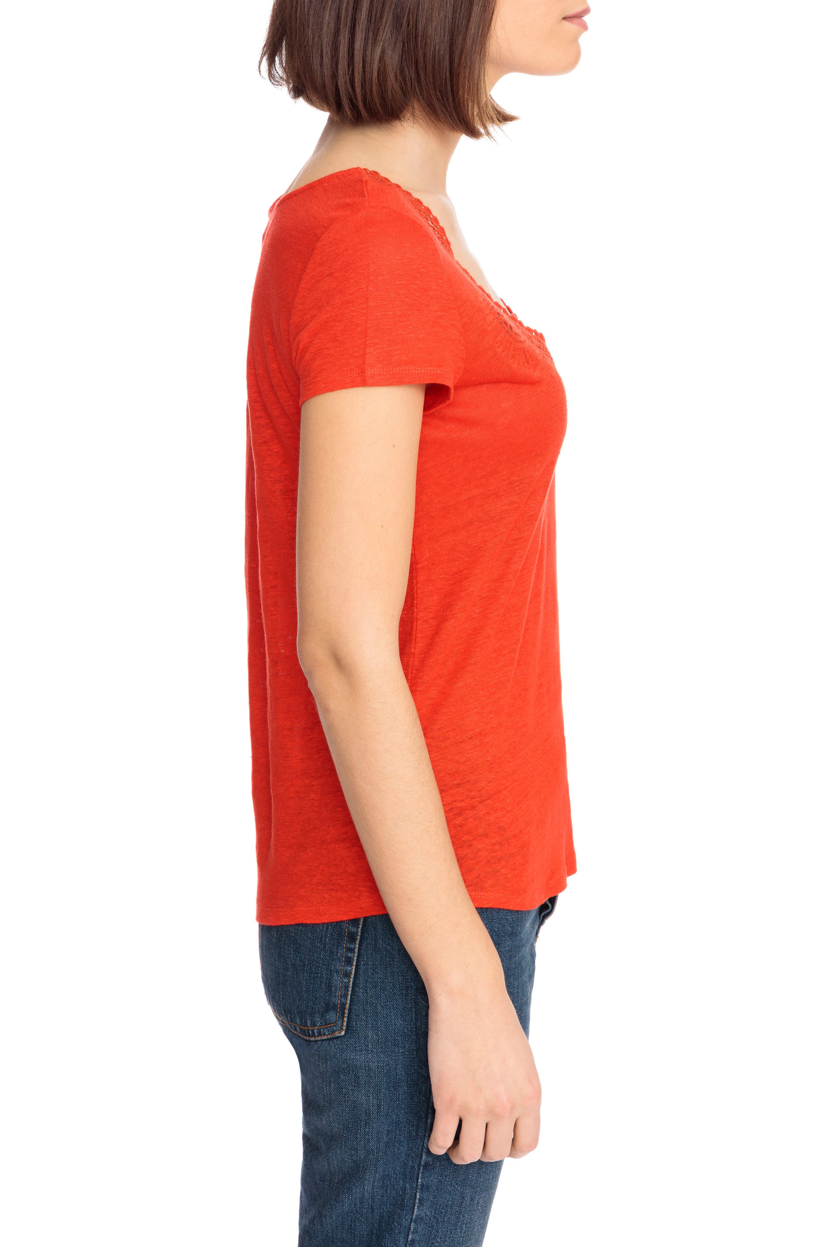 Loly Crochet Neck Linen Tee,                             Alternate thumbnail 4, color,                             Coral Red