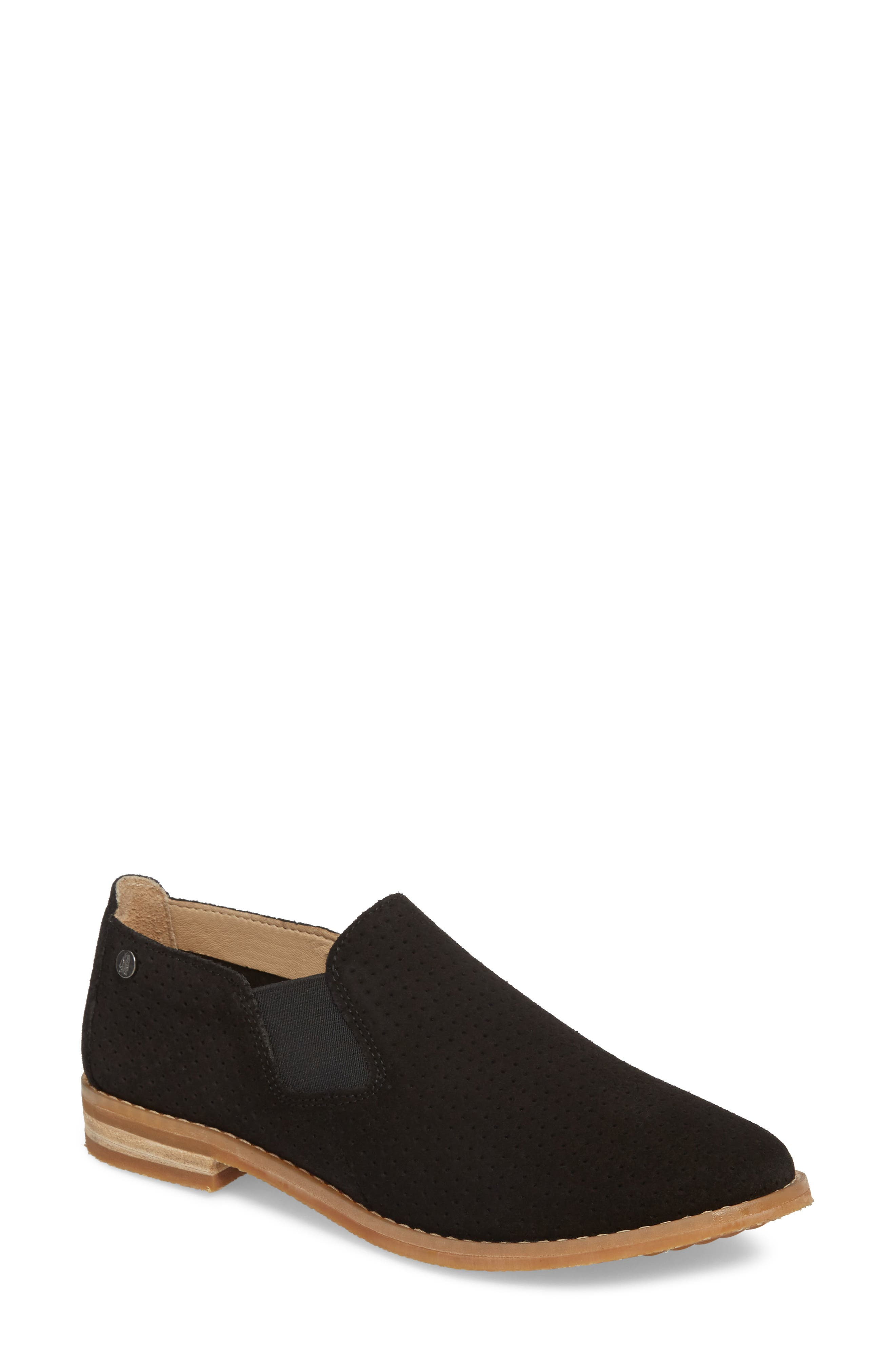 Hush Puppies Analise Clever Slip-On,                         Main,                         color, Black Perforated Suede