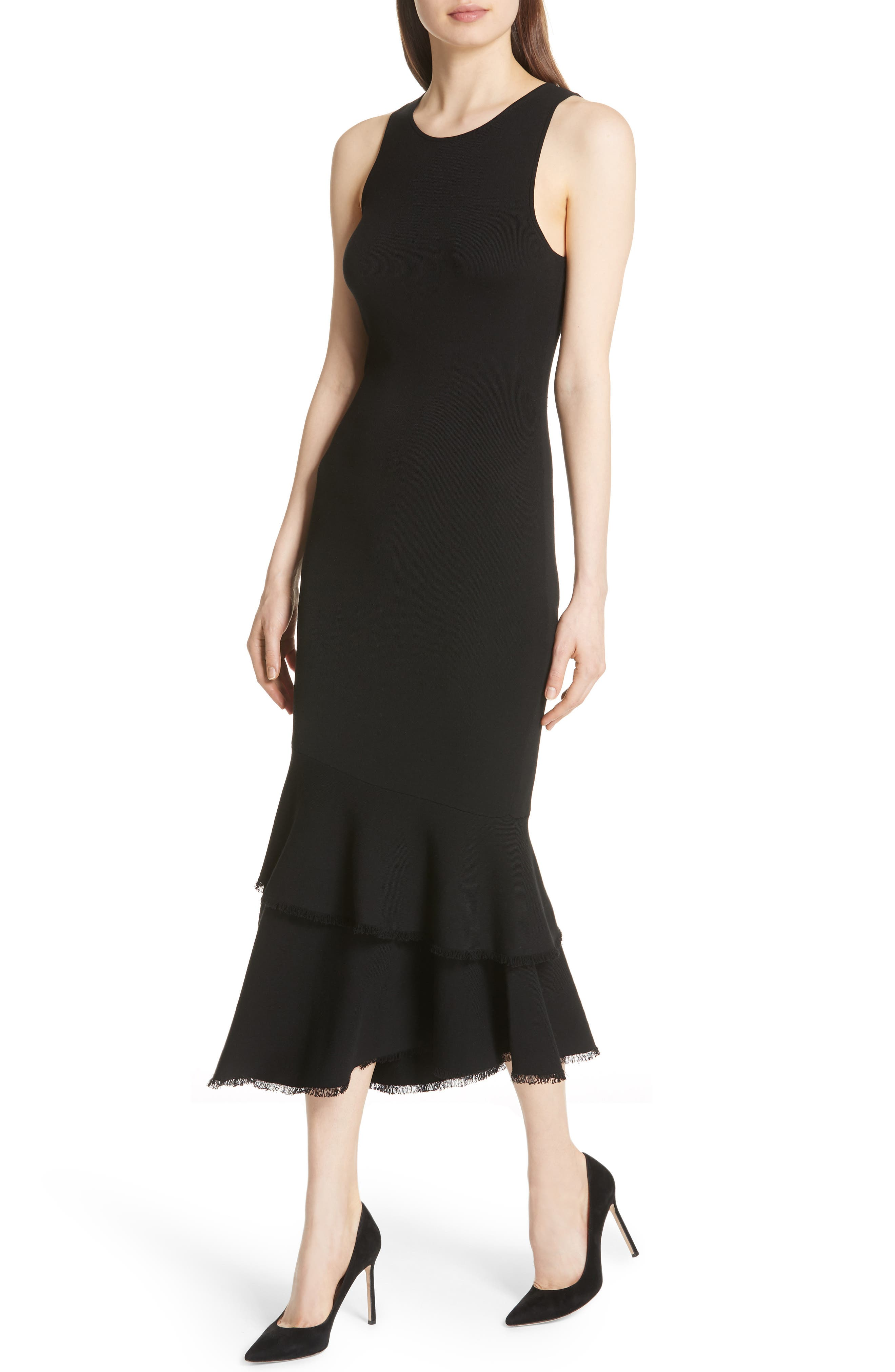 Nilimary Prosecco Midi Dress,                             Alternate thumbnail 4, color,                             Black