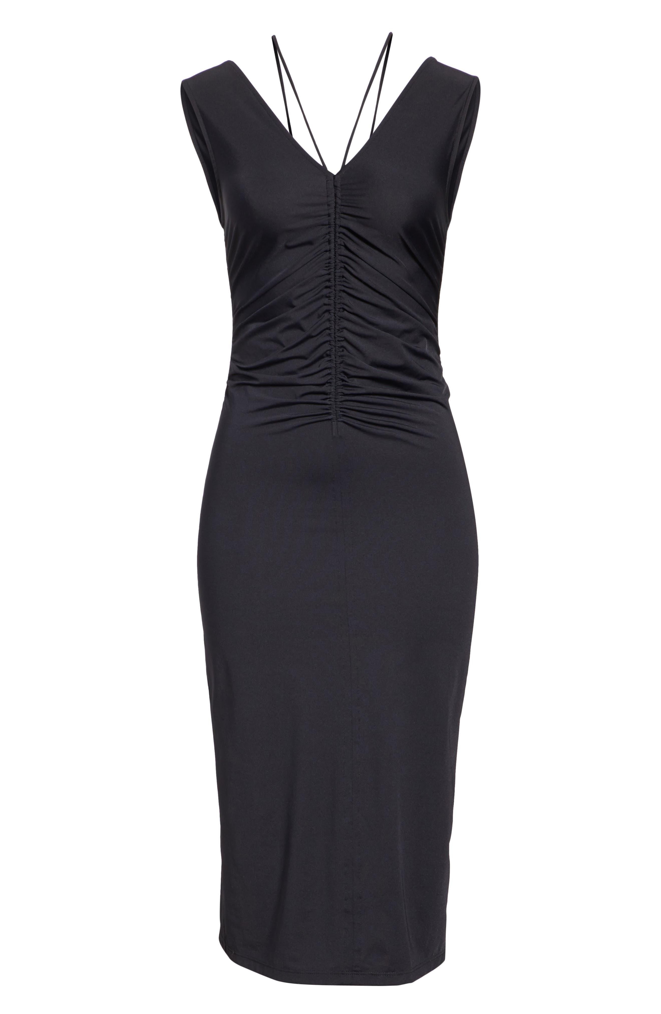 Ruched Tie Travel Midi Dress,                             Alternate thumbnail 6, color,                             Black