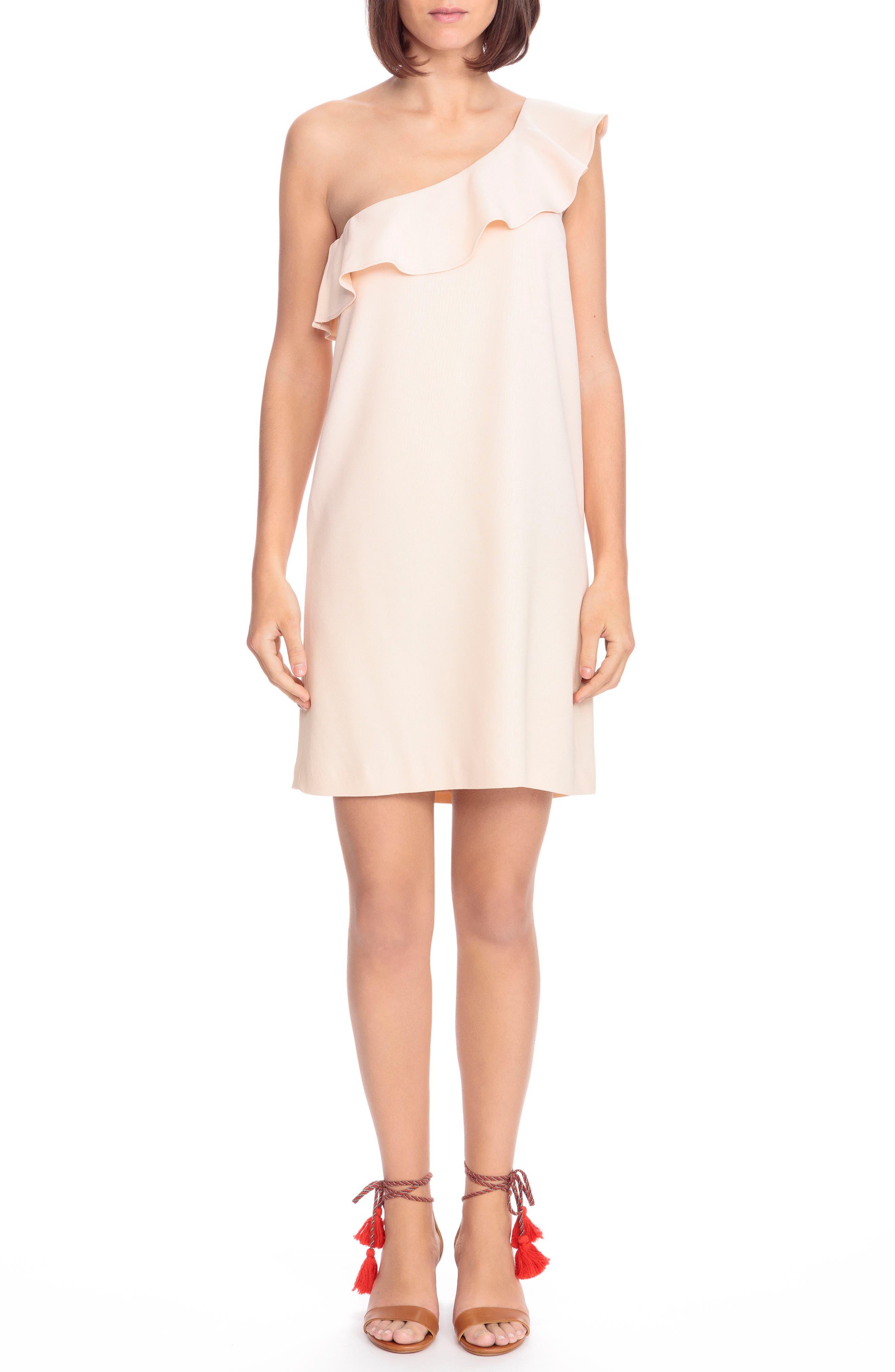Louison Ruffle One-Shoulder Shift Dress,                         Main,                         color, Nude