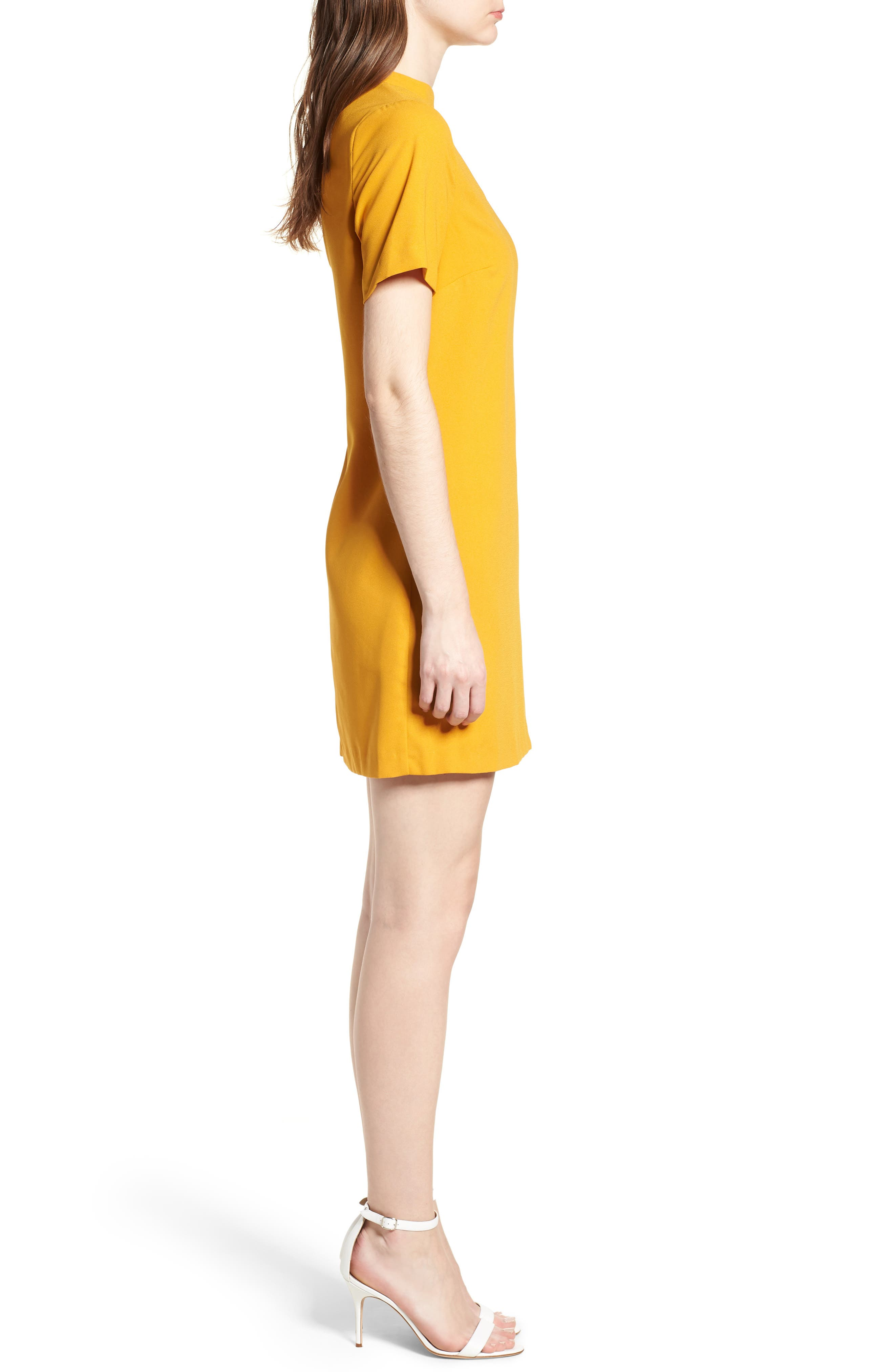 Bishop + Young Sasha Shift Dress,                             Alternate thumbnail 3, color,                             Mustard