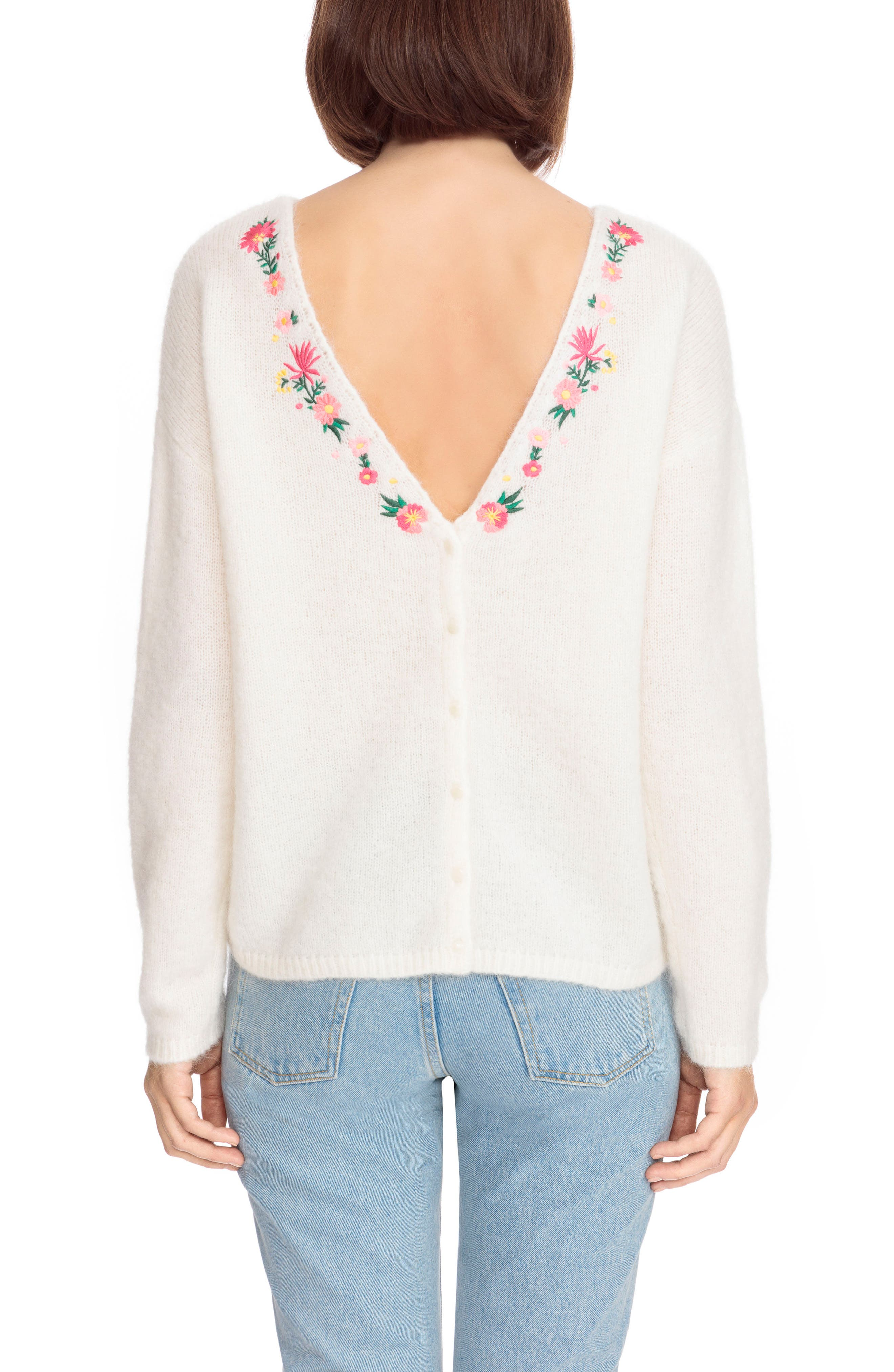 Cassiopee Embroidered Sweater,                             Alternate thumbnail 3, color,                             Off White