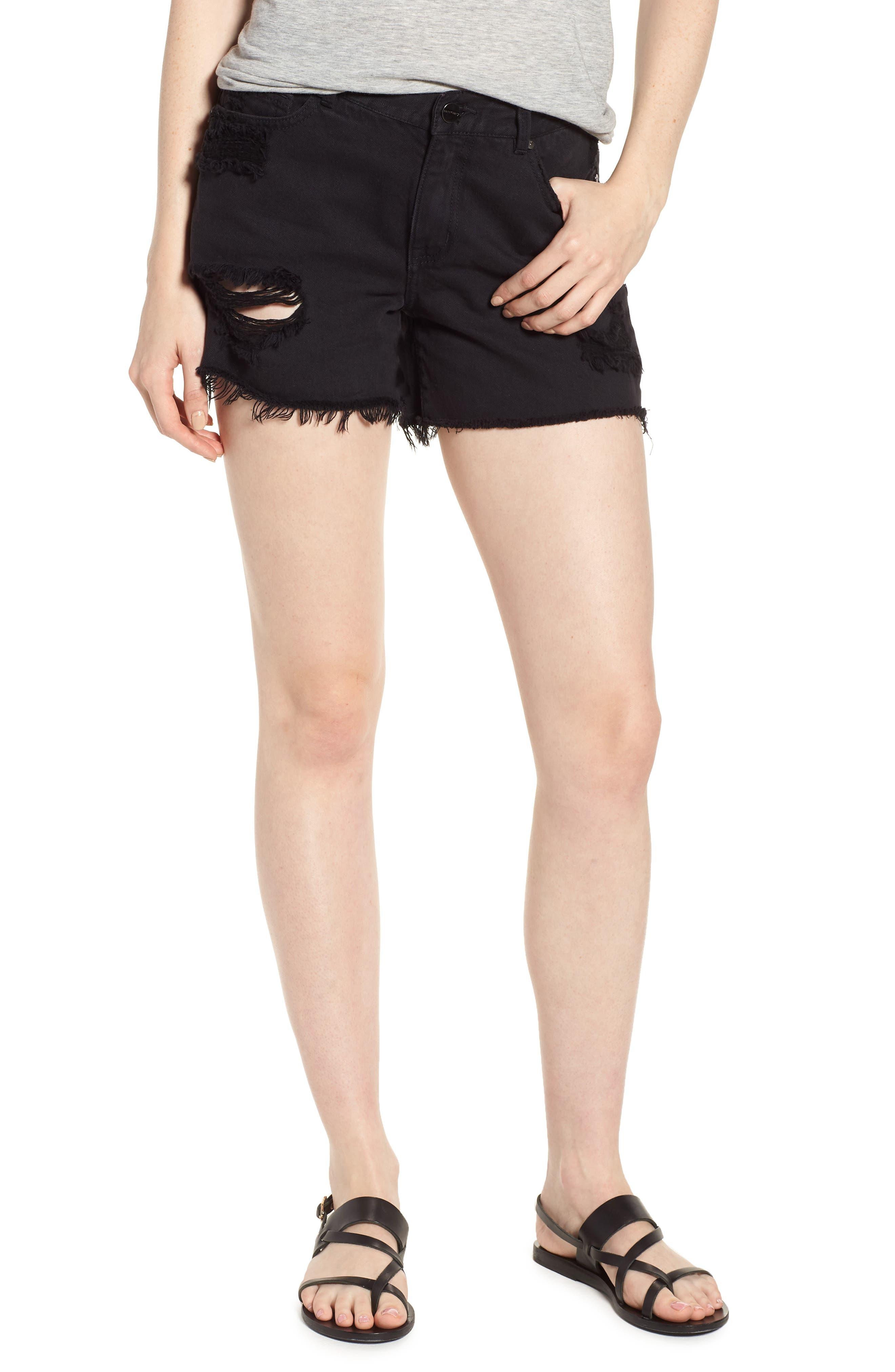 Black Midi Fray Shorts,                             Main thumbnail 1, color,                             Faded Black