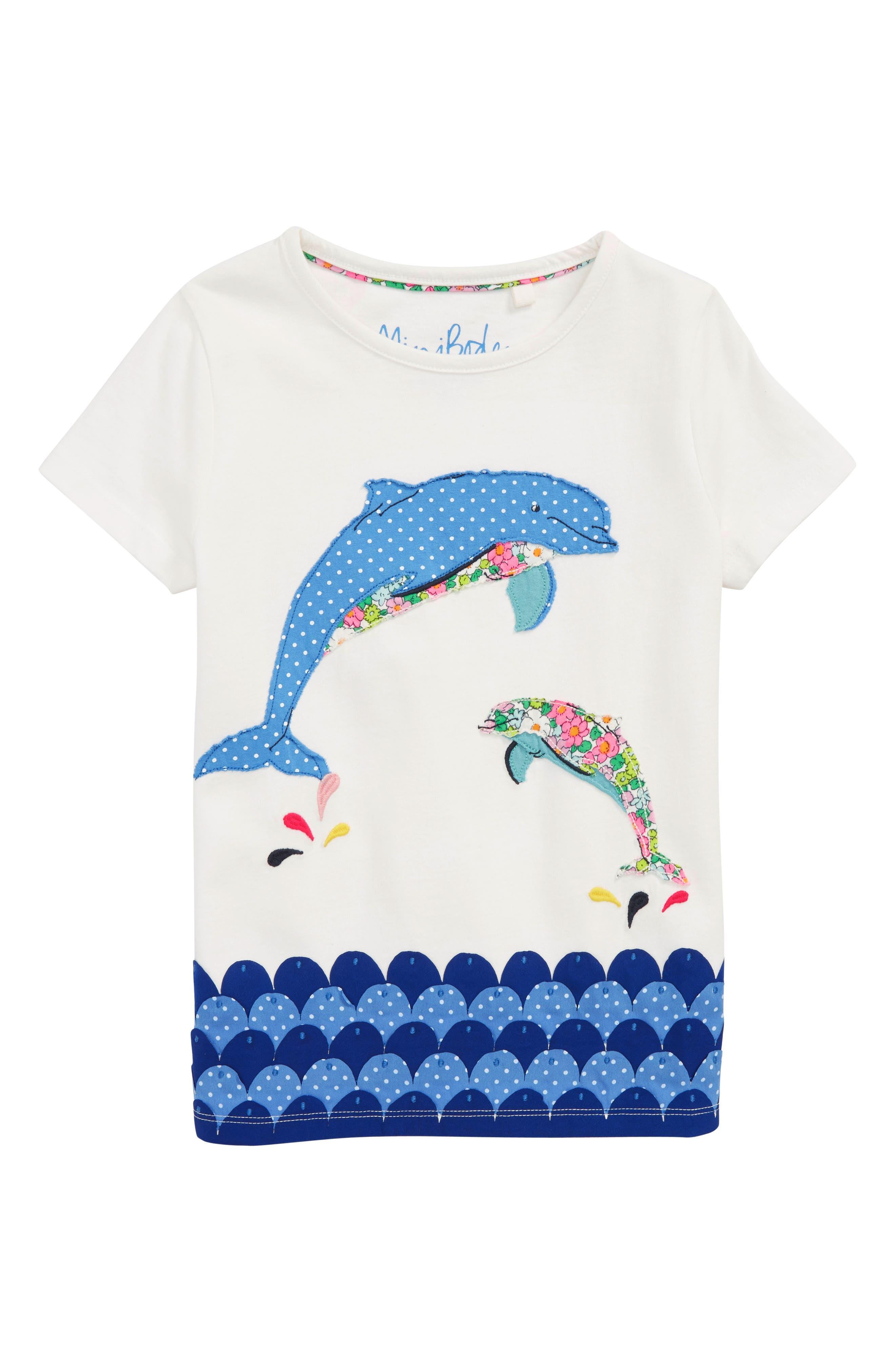 Fun Animal Appliqué Tee,                         Main,                         color, Ivory Dolphin Ivo