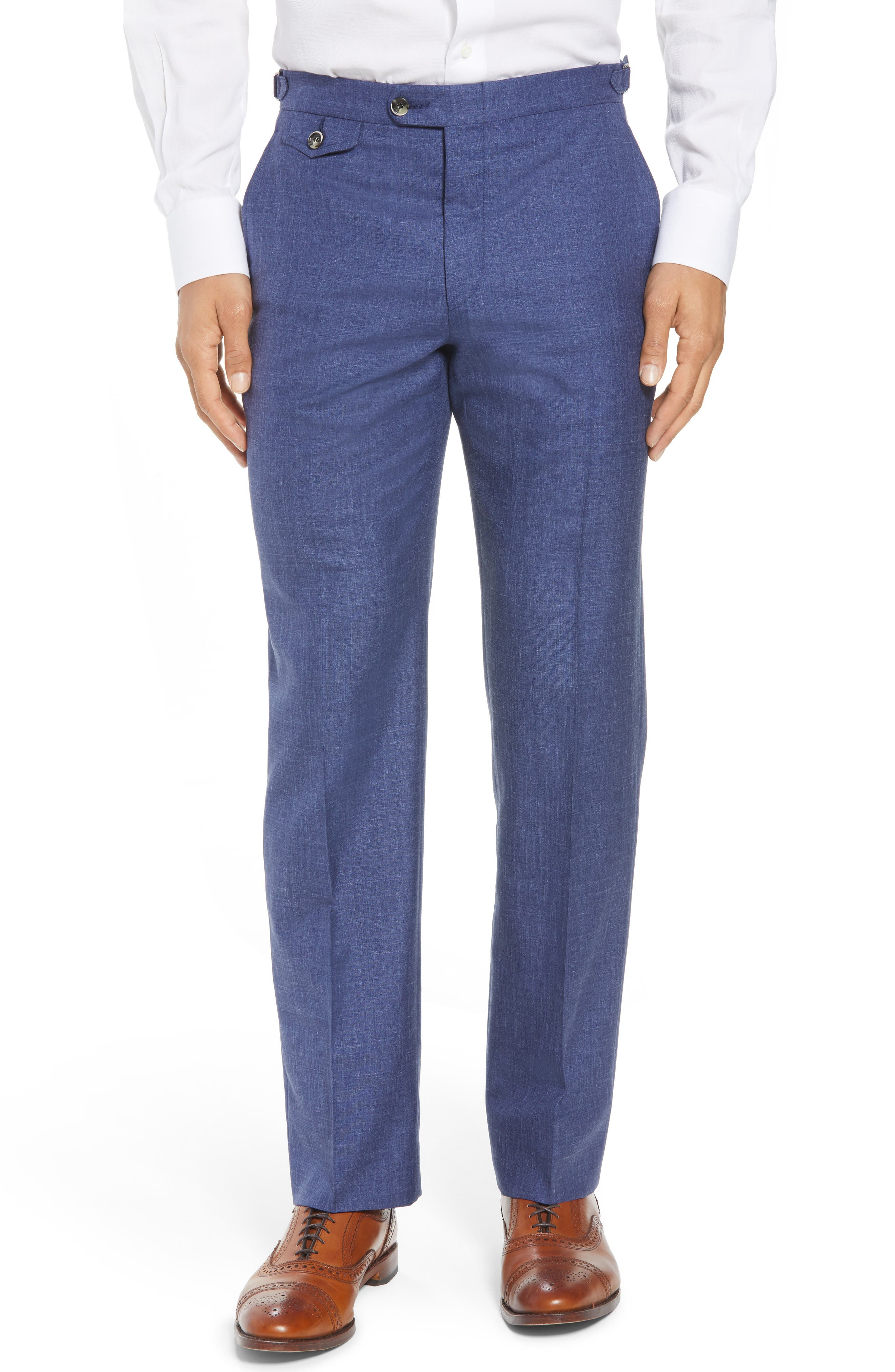 B Fit Flat Front Solid Wool Blend Trousers,                         Main,                         color, Blue Solid