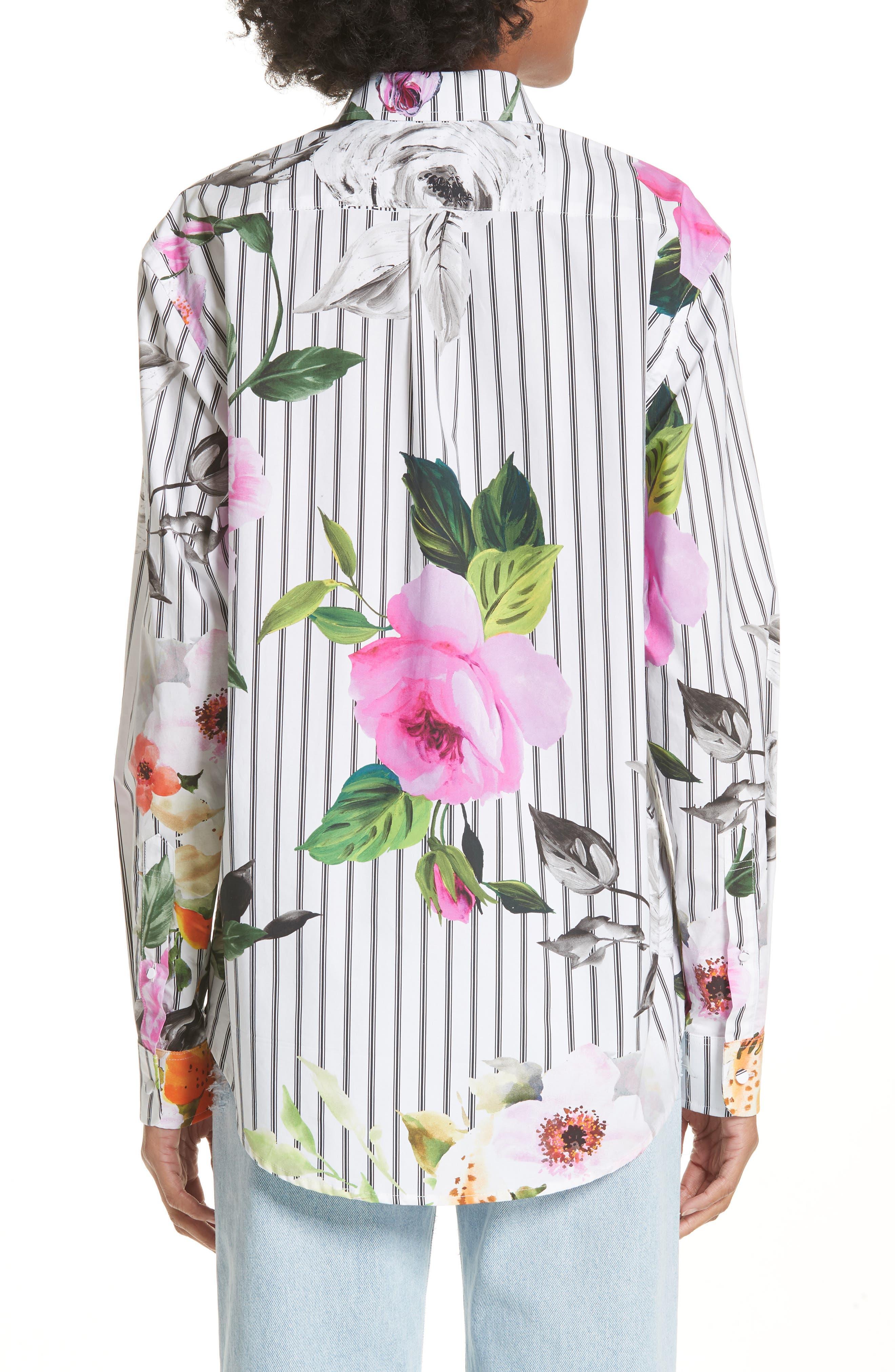 Basic Flower Stripe Shirt,                             Alternate thumbnail 2, color,                             All Over Black