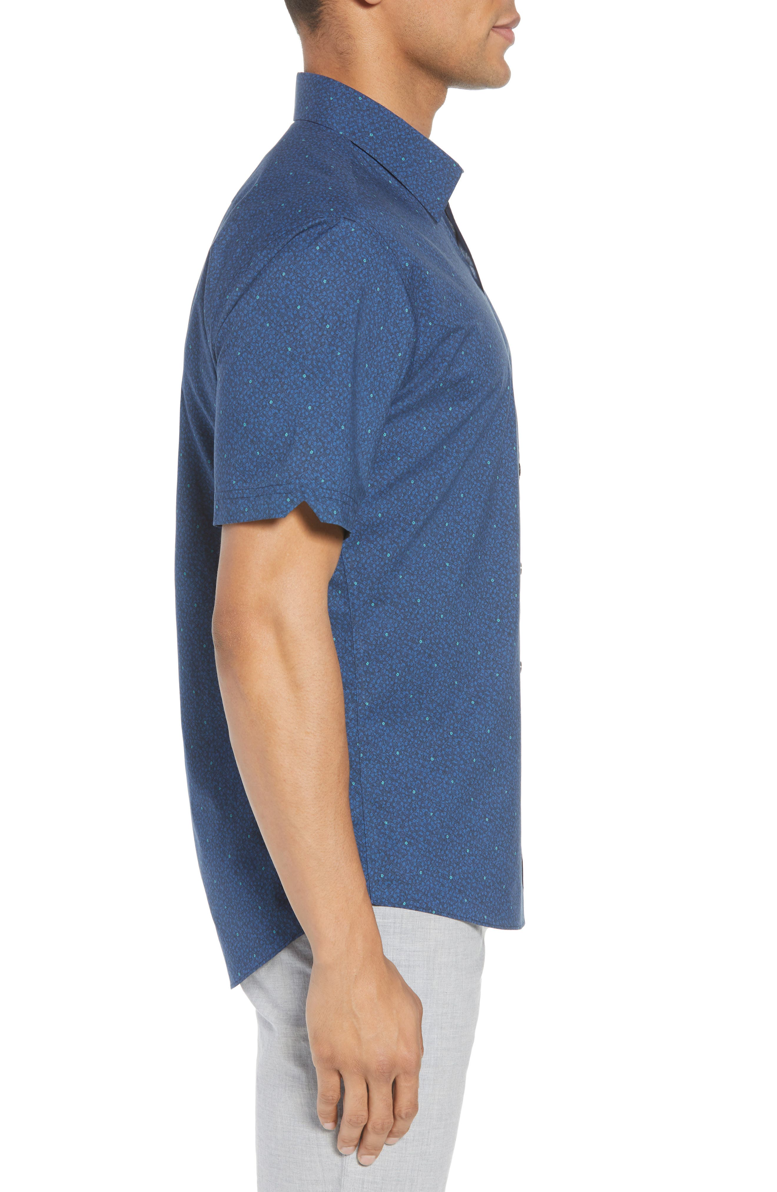 Wichert Trim Fit Floral Print Sport Shirt,                             Alternate thumbnail 4, color,                             Dark Blue