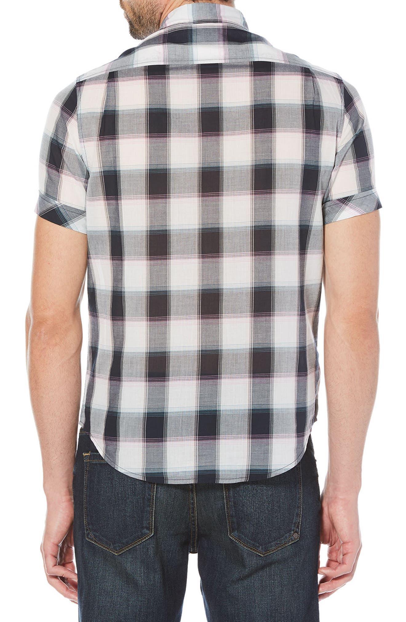Plaid Cotton Lawn Shirt,                             Alternate thumbnail 2, color,                             Dark Sapphire
