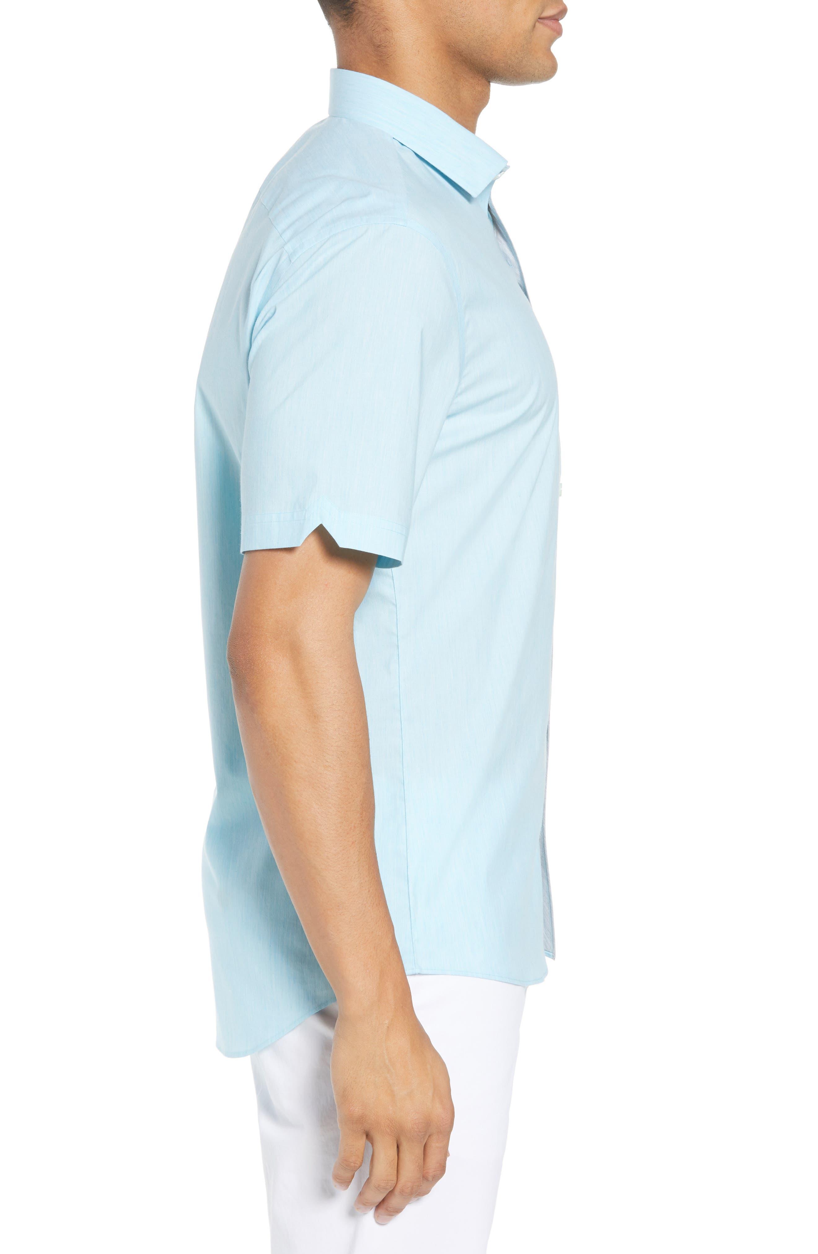 Baumann Slim Fit Sport Shirt,                             Alternate thumbnail 3, color,                             Aqua