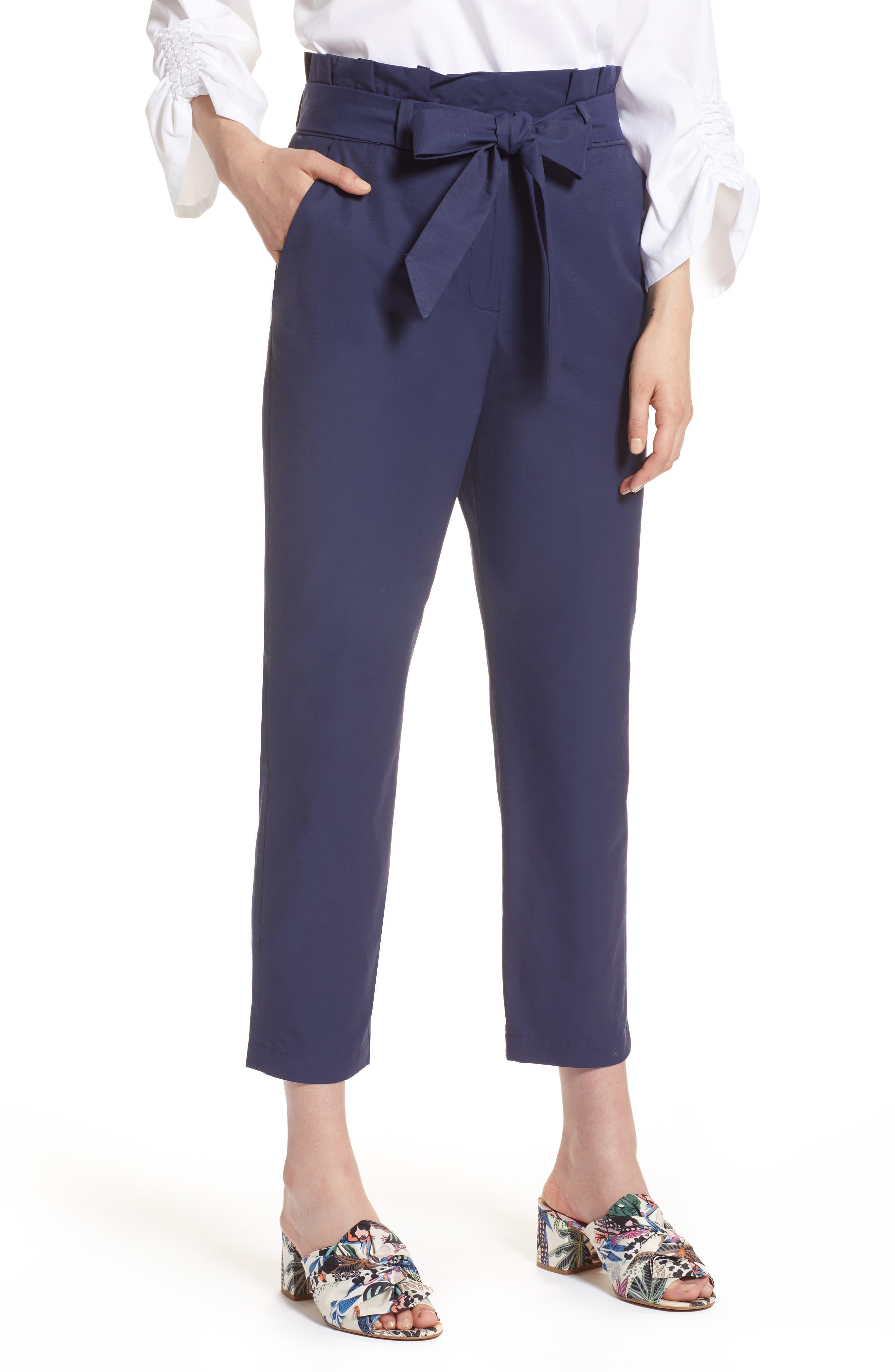Halogen® Paperbag Tie Waist Pants (Regular & Petite)
