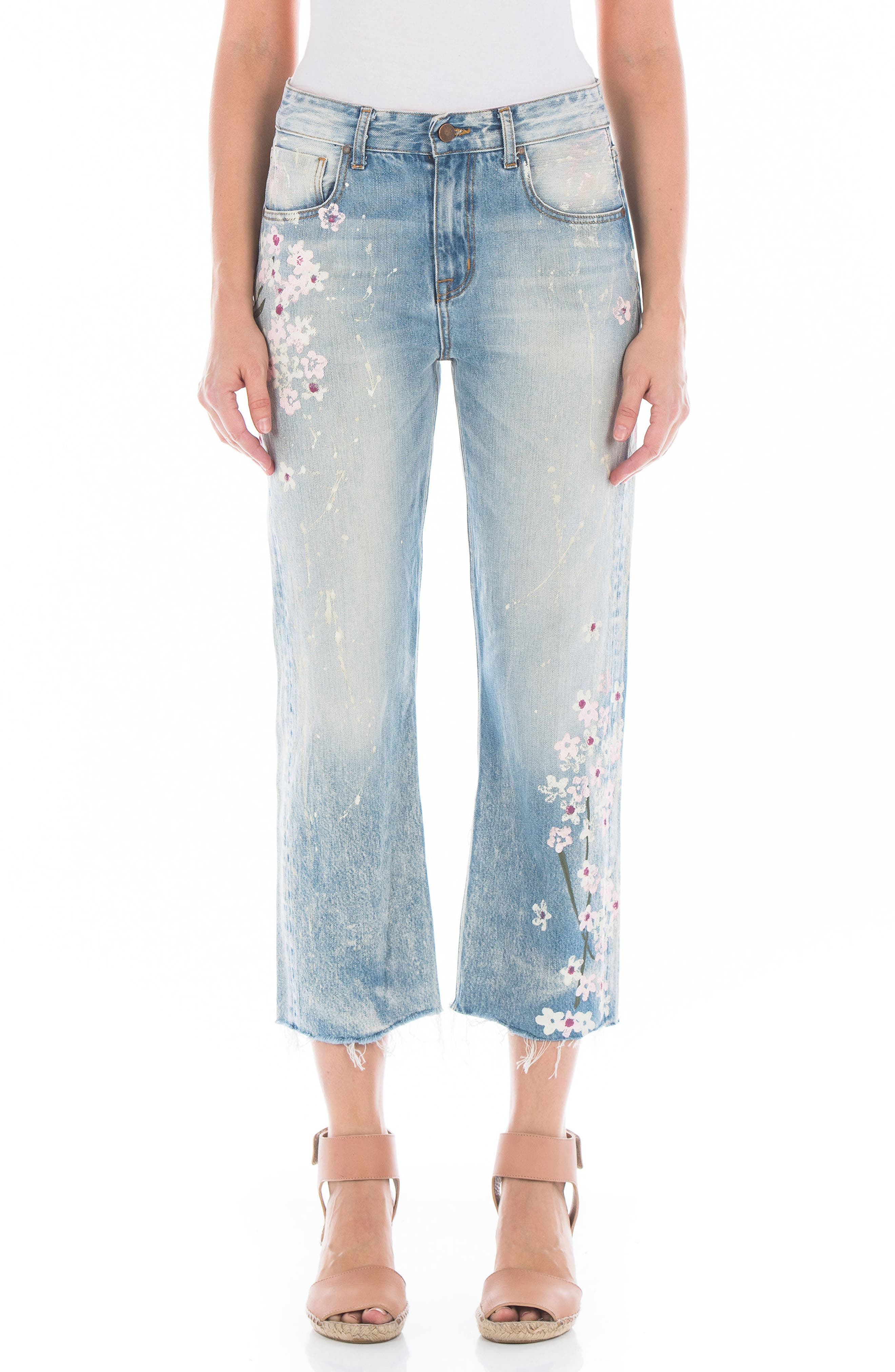 Fidelity Denim Taylor Painted Crop Wide Leg Jeans (Cherry Blossom)
