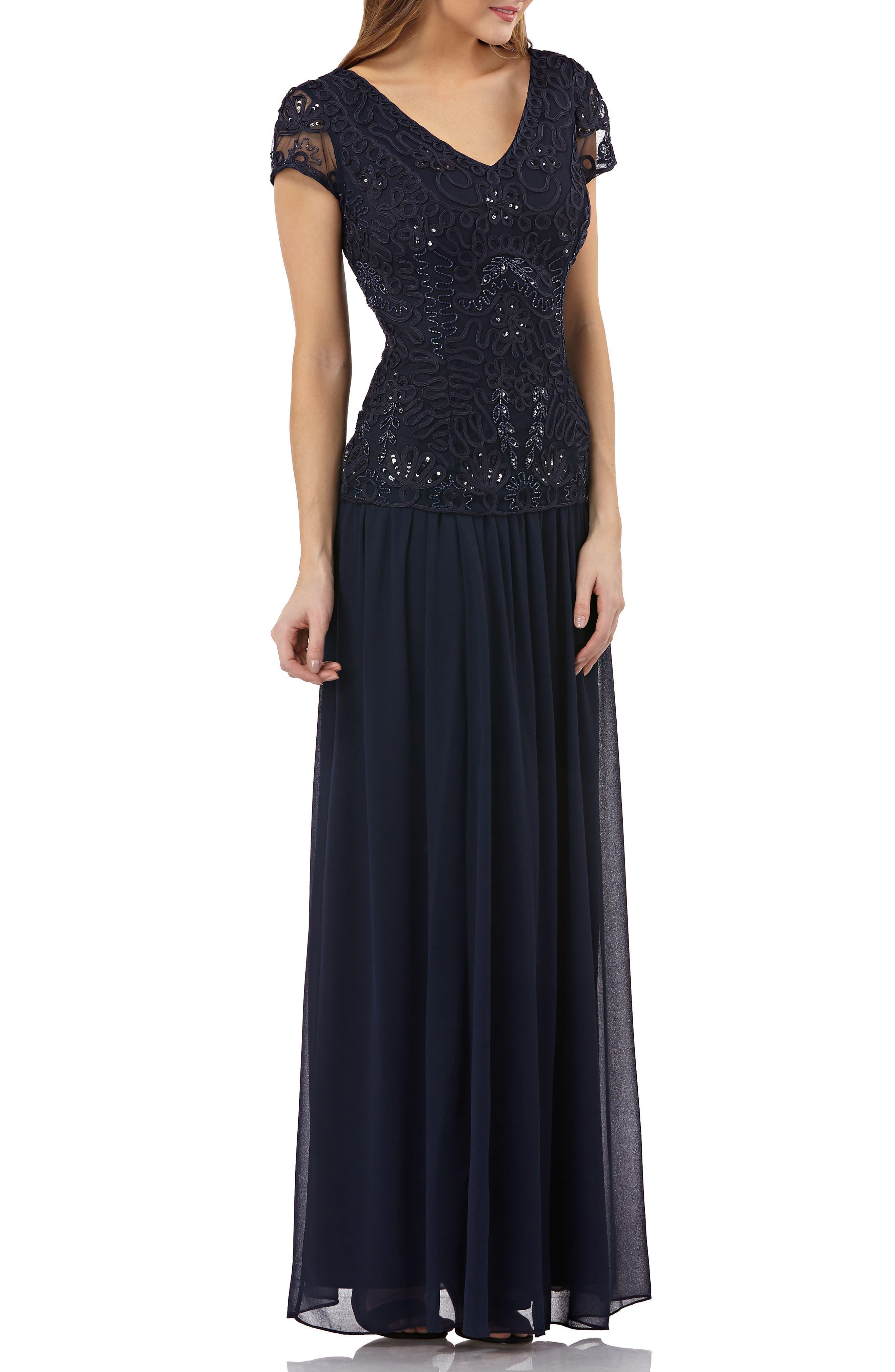 Soutache Appliqué Gown,                         Main,                         color, Navy