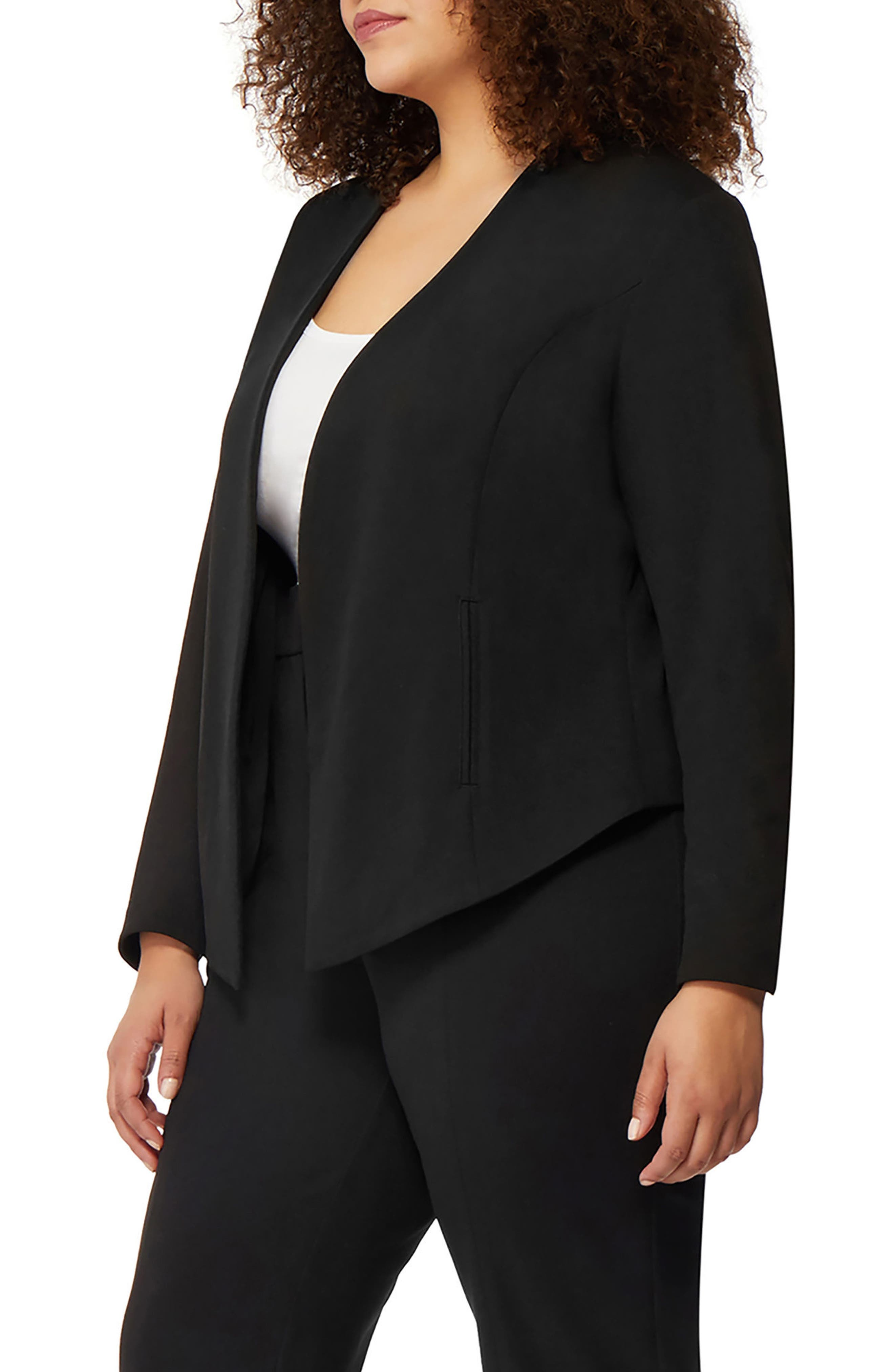 Open Front Blazer,                             Alternate thumbnail 3, color,                             Black