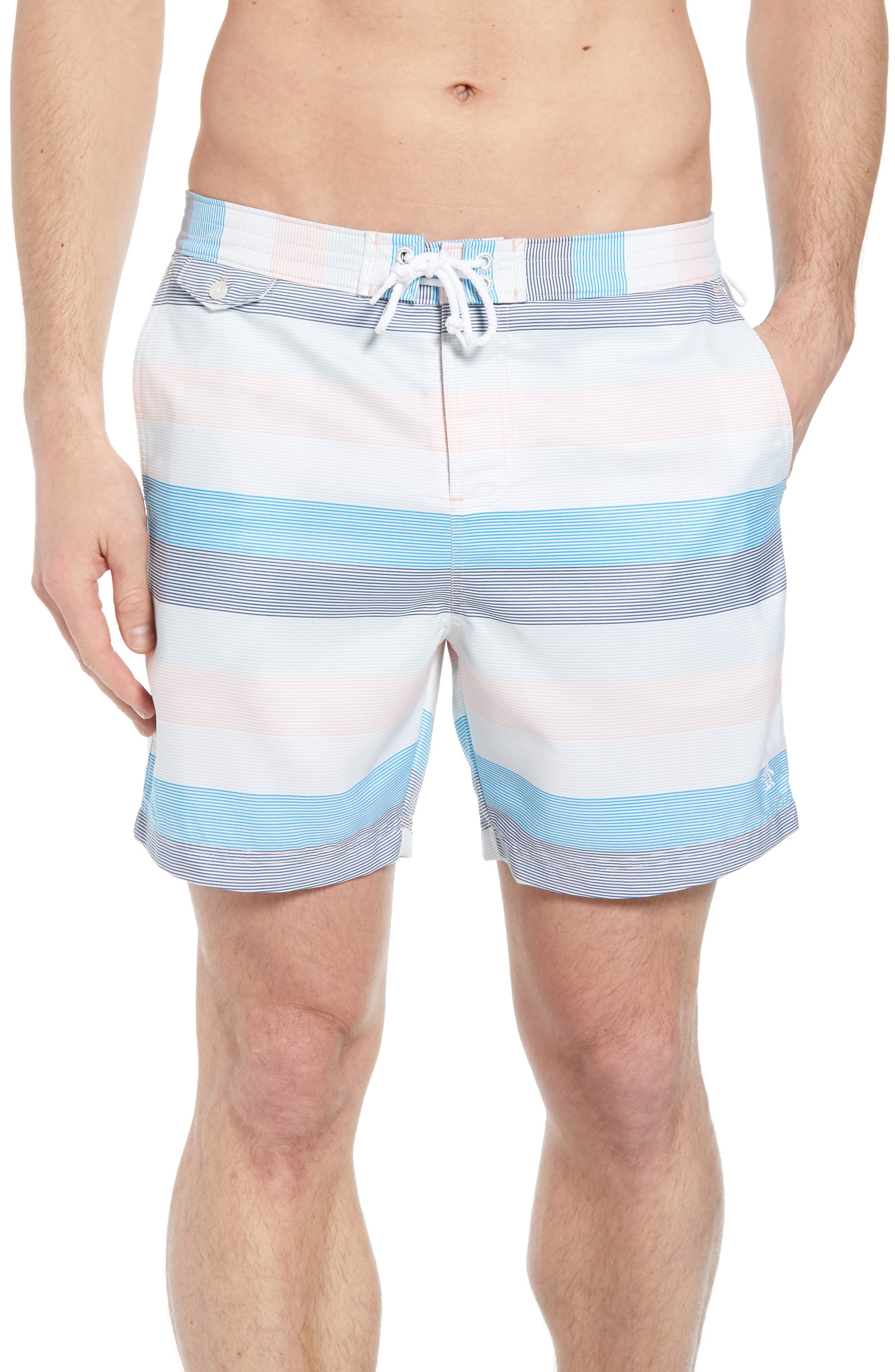 Stripe Volley Board Shorts,                             Main thumbnail 1, color,                             Impatiens Pink