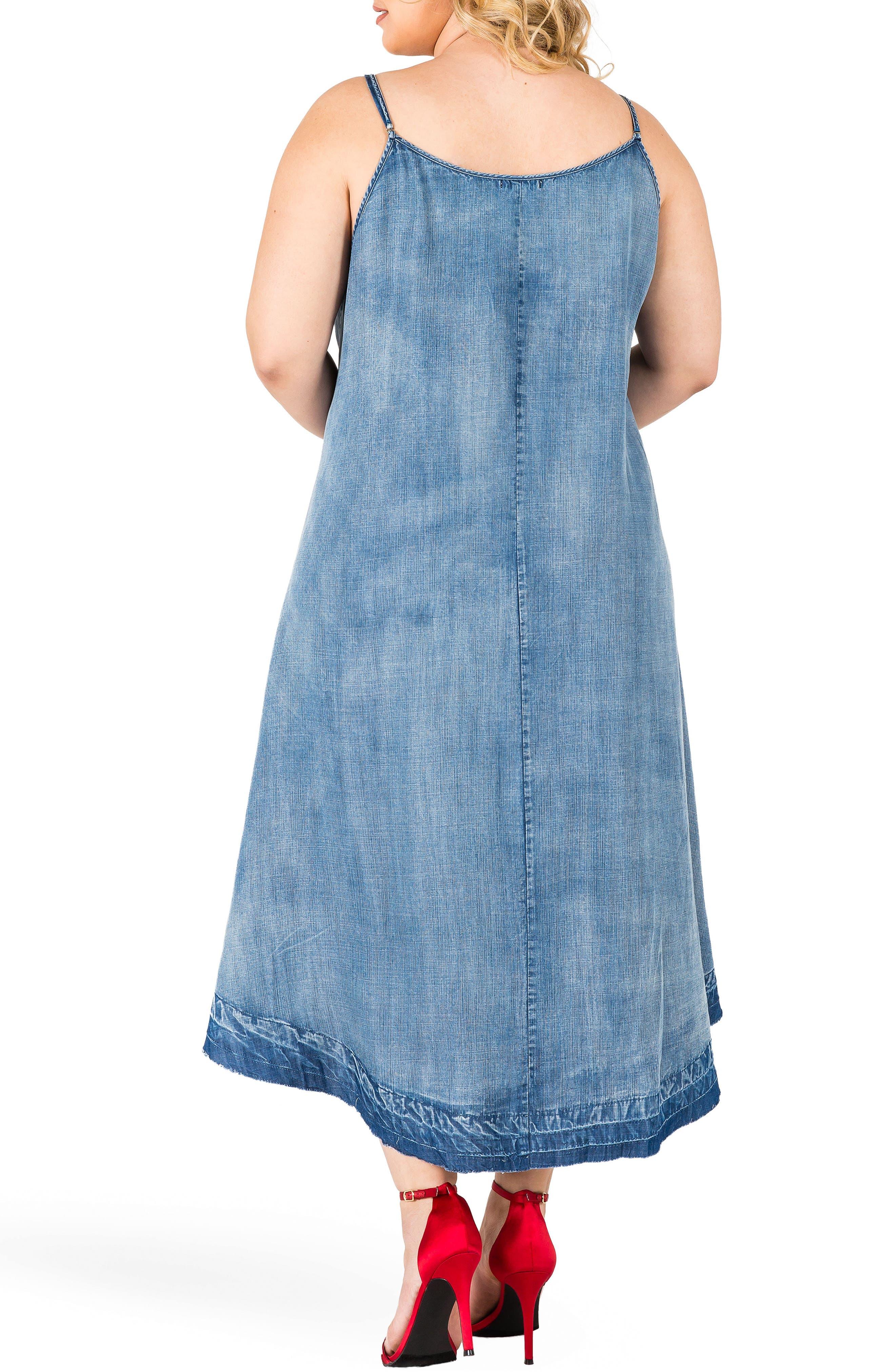 Taylor Tank Denim Midi Dress,                             Alternate thumbnail 2, color,                             Medium Blue