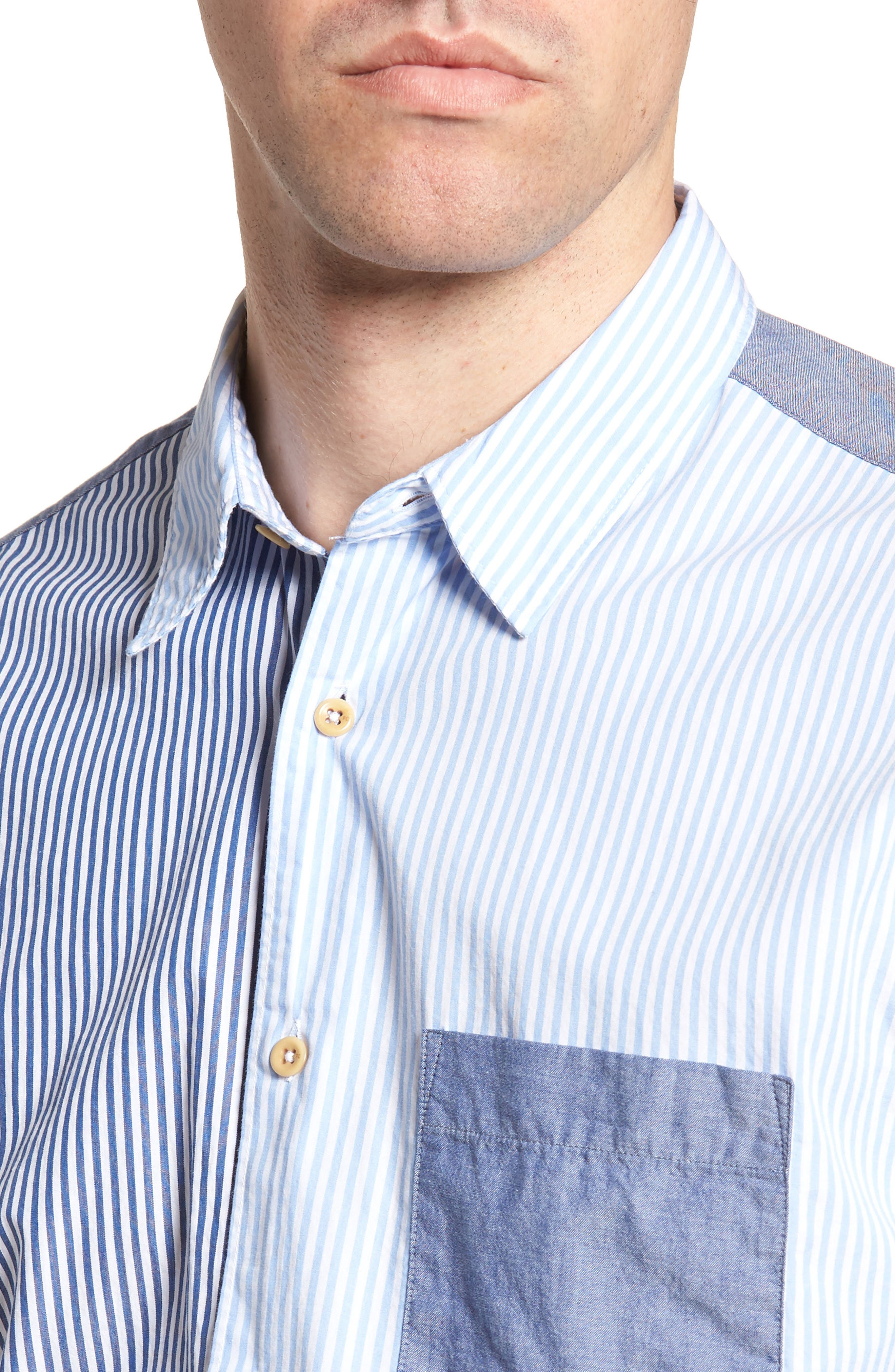 Patchwork Relaxed Fit Sport Shirt,                             Alternate thumbnail 4, color,                             Blue Blood