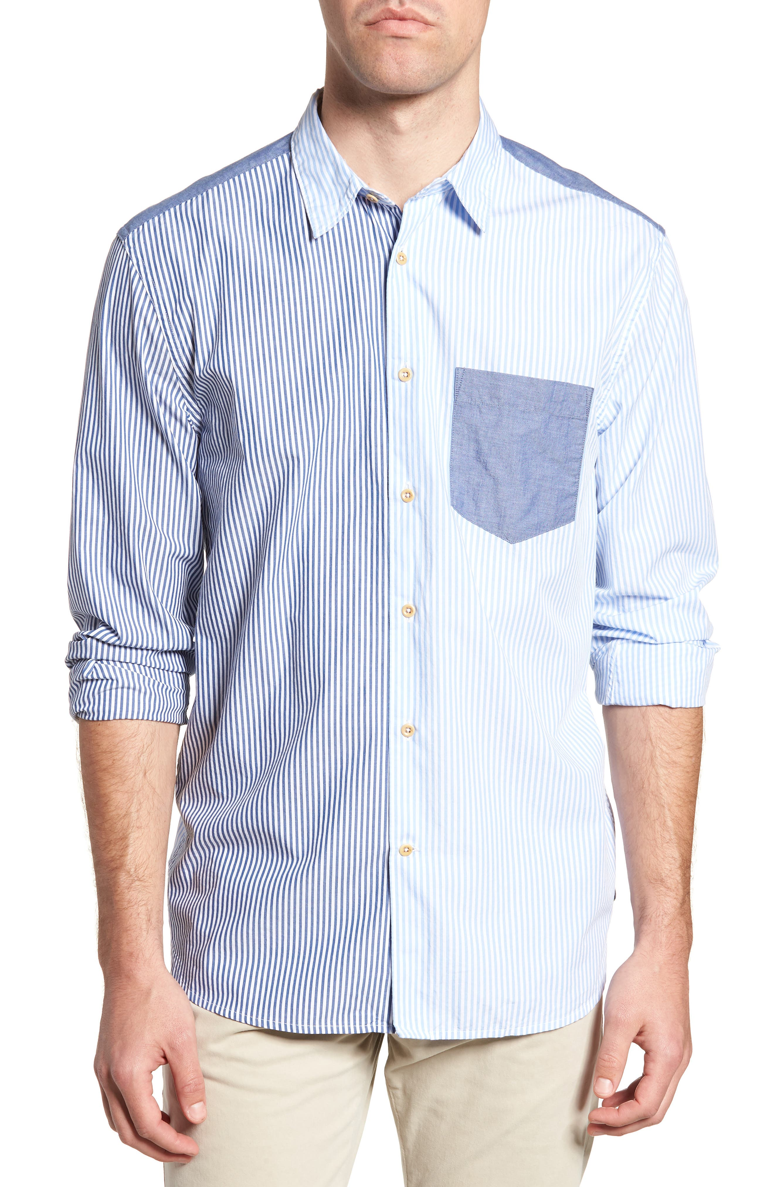 Patchwork Relaxed Fit Sport Shirt,                         Main,                         color, Blue Blood