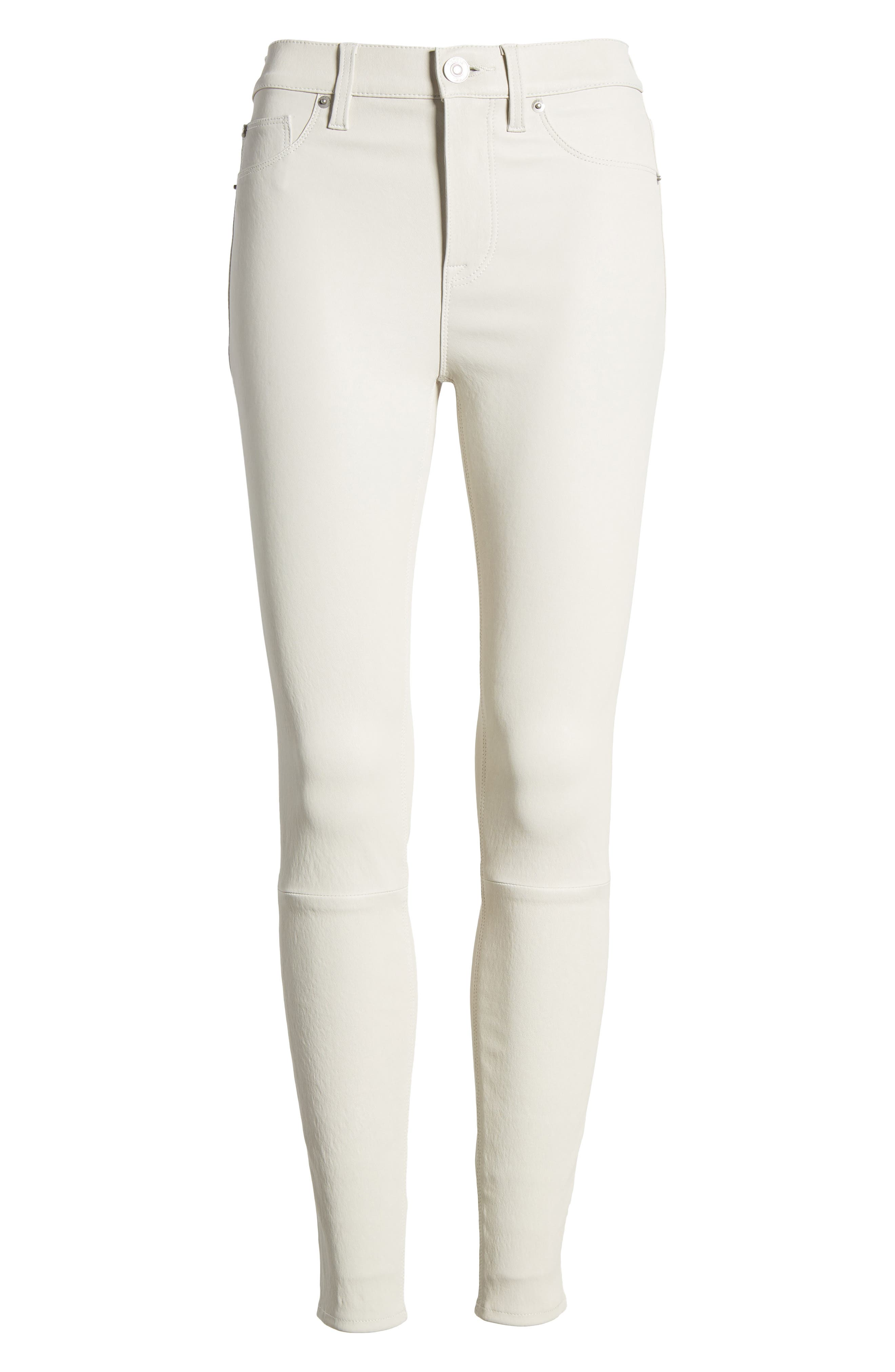 Barbara High Waist Super Skinny Leather Jeans,                             Alternate thumbnail 6, color,                             Pale White