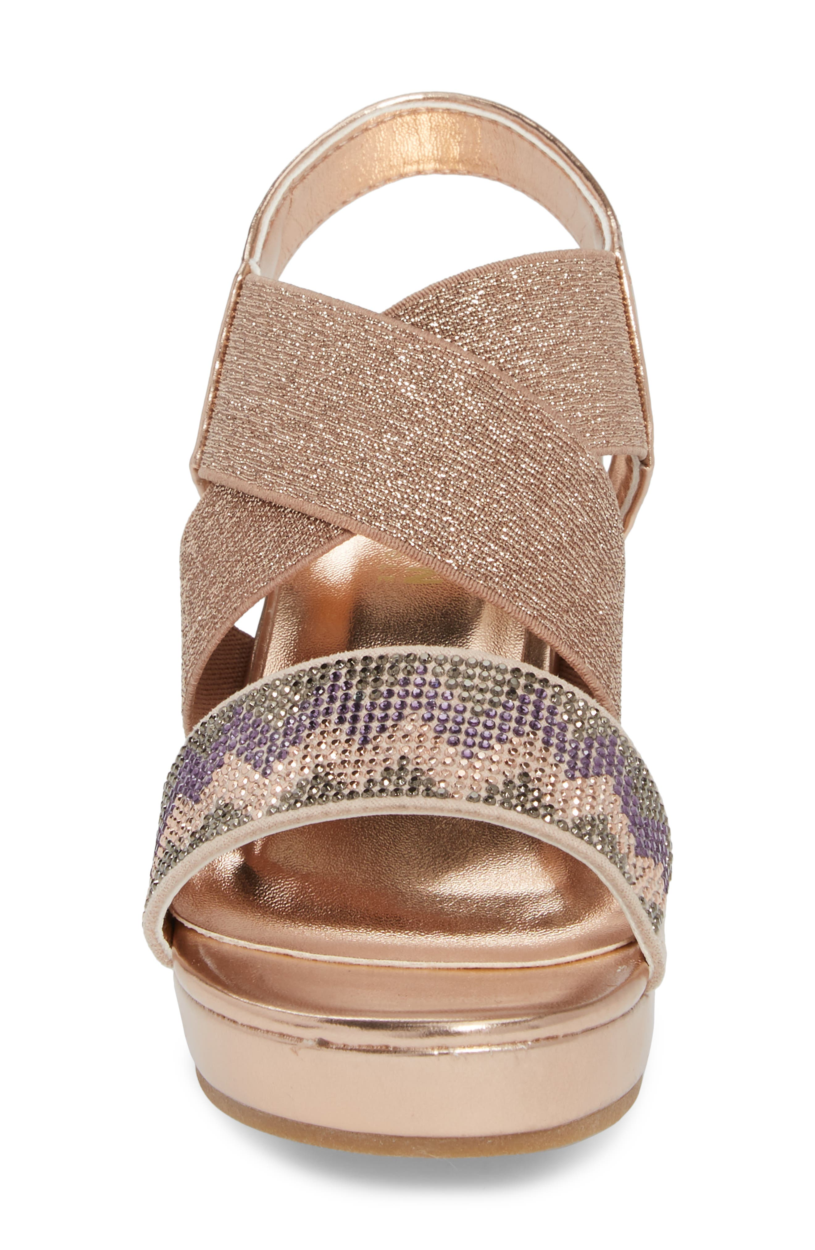 Reaction Kenneth Cole Reed Mamba Embellished Wedge Sandal,                             Alternate thumbnail 4, color,                             Rose Metallic
